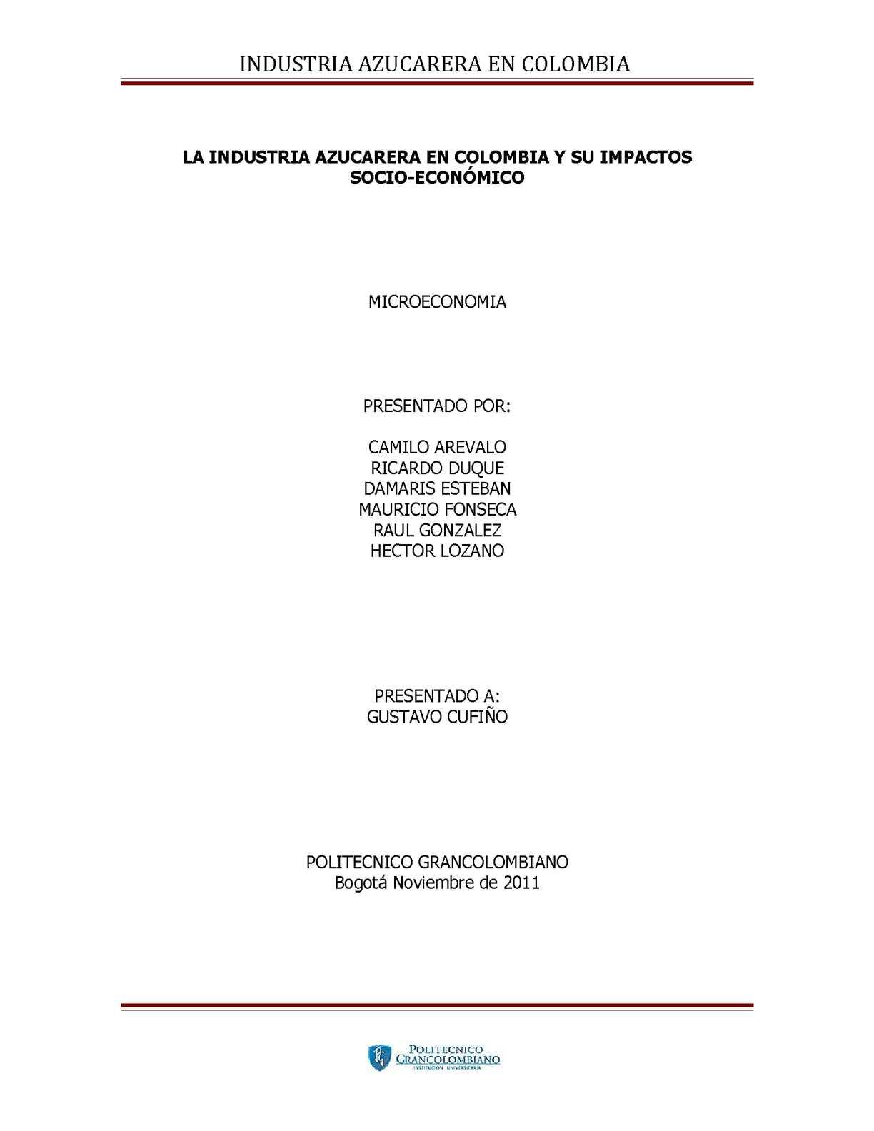 La Industria Azucarera en Colombia y su impacto Socio-Económico