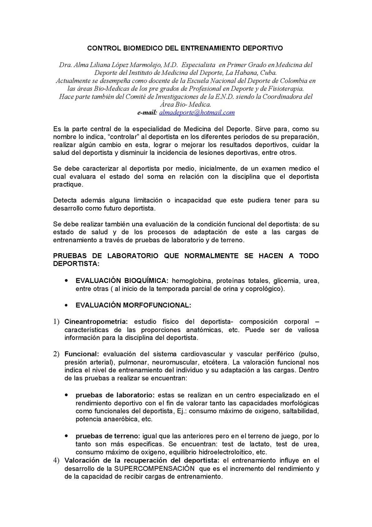 Calaméo - Control Biomédico del Entrenamiento Deportivo