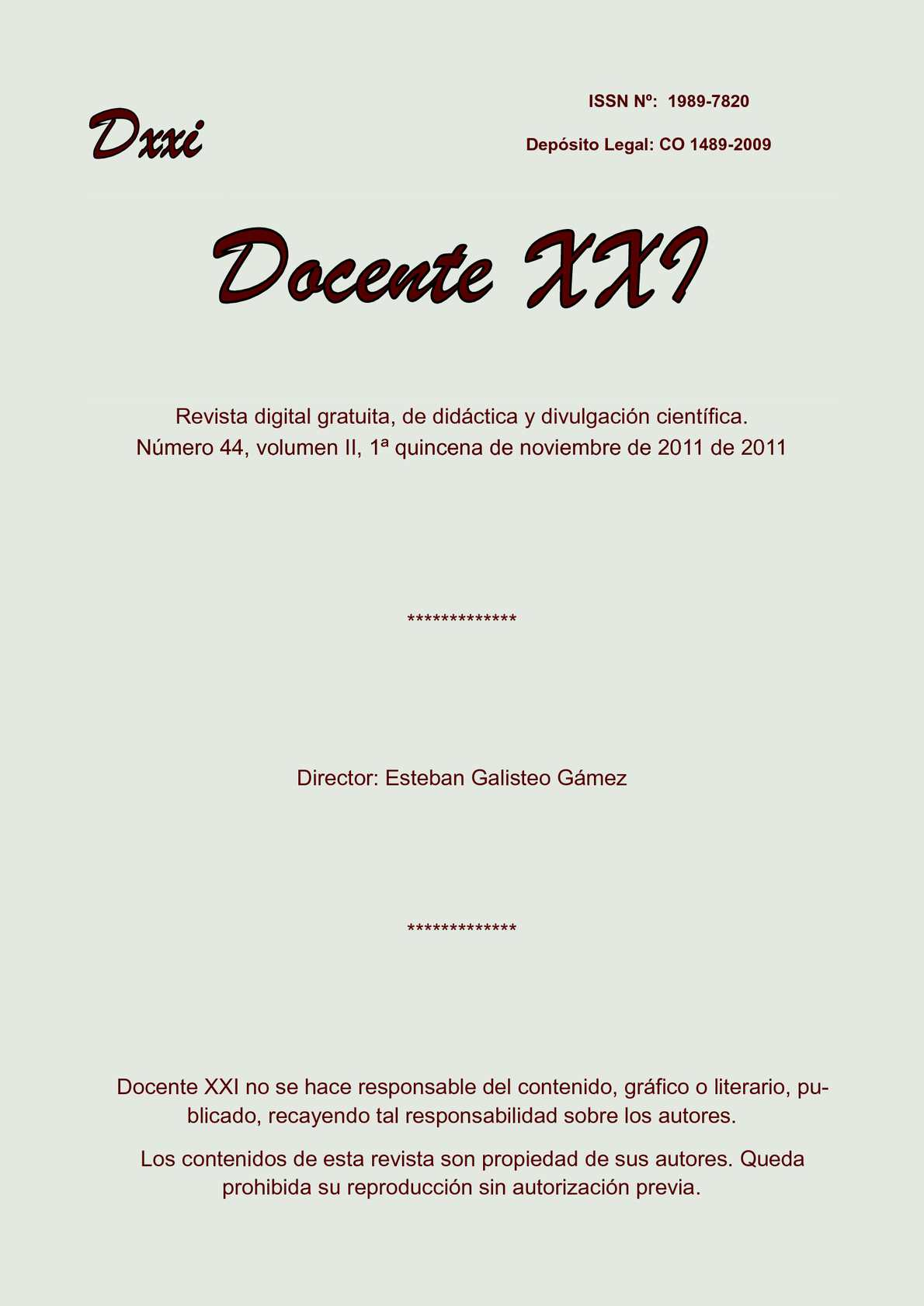Calaméo - Docente XXI Nº 44, Vol. II, 1ª quincena de noviembre de 2011