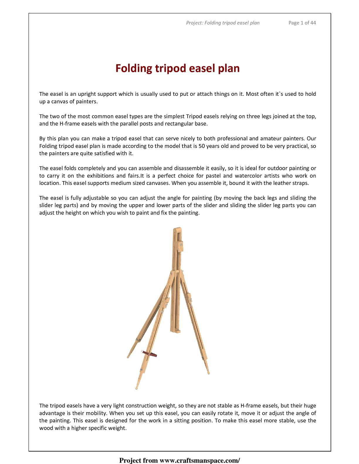 Calaméo - How to make folding tripod easel - Free woodworking plan