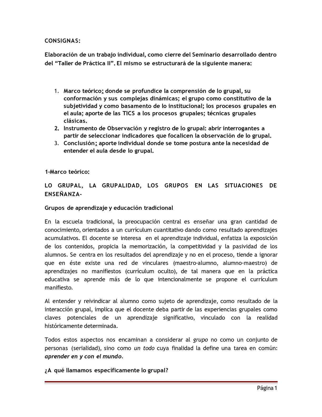 """Tema: """"Seminario de lo Grupal y los Grupos"""""""