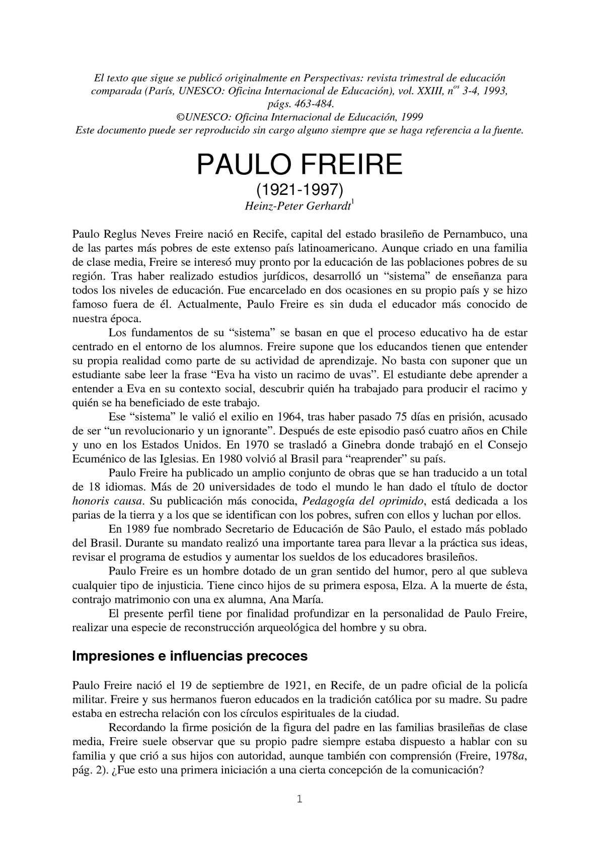 Calaméo - PAULO FREIRE (1921-1997). Por Heinz-Peter Gerhardt