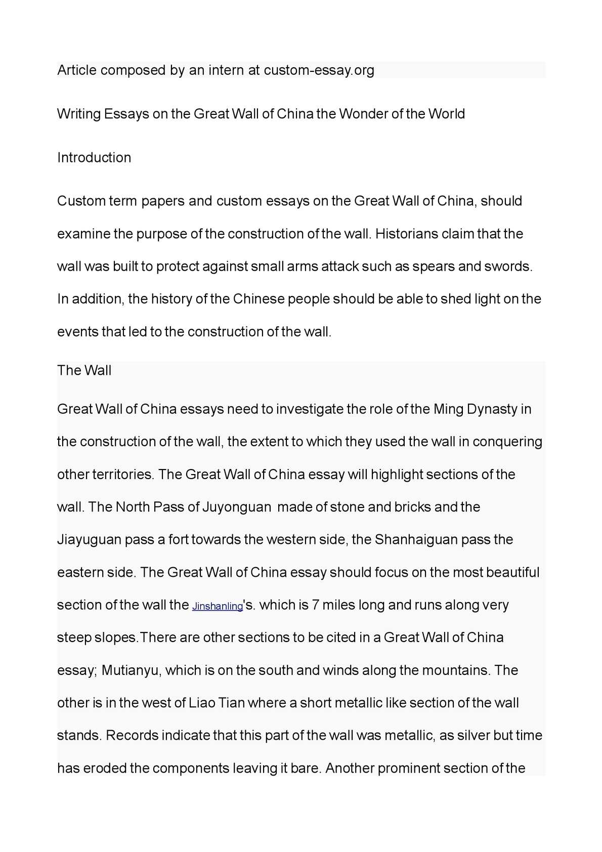great wall of china essay writing This sample great wall of china essay is published for informational purposes only free essays and research papers, are not written by.