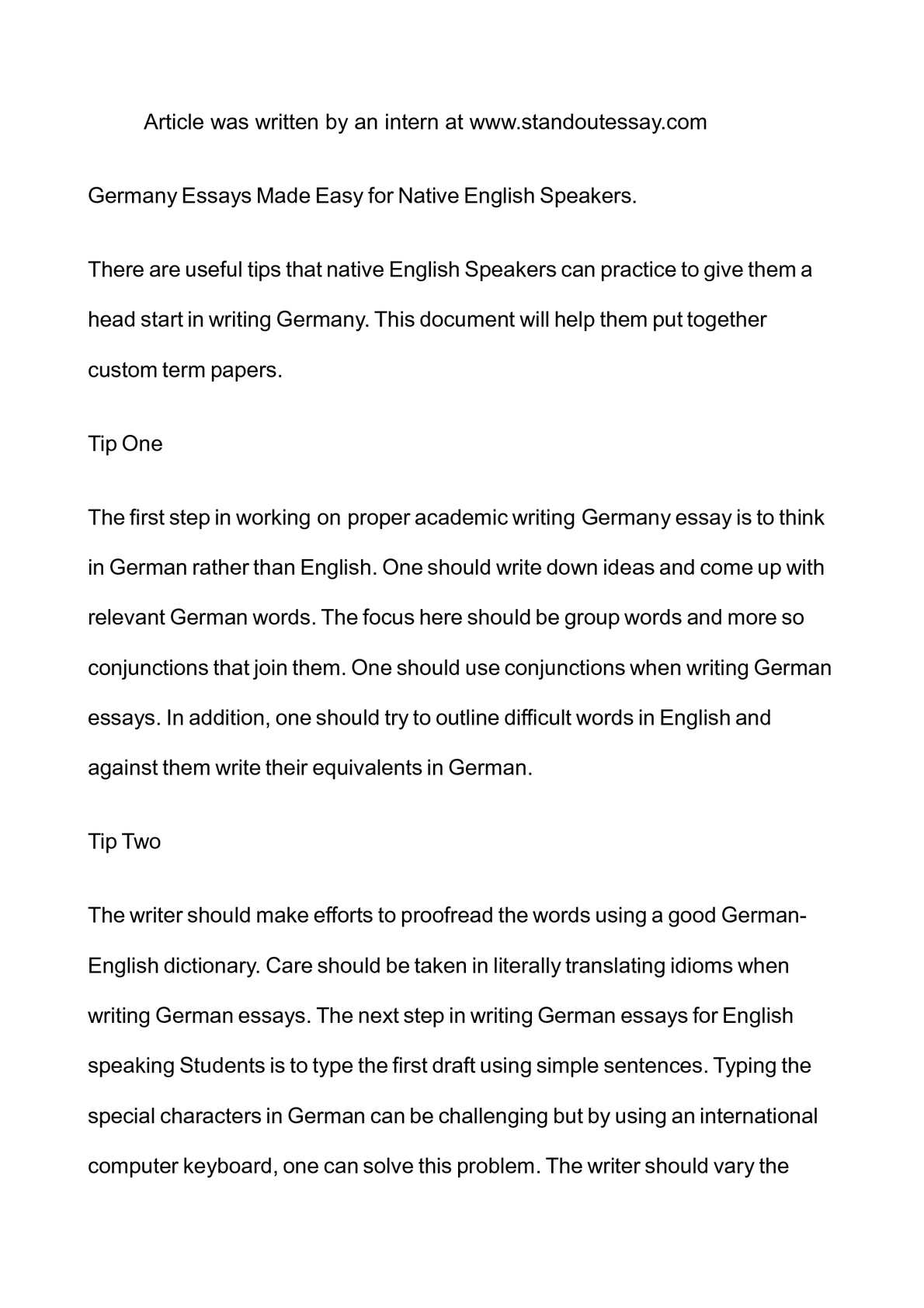 Calamo  Germany Essays Made Easy For Native English Speakers  Proposal Essay Topic List also Argumentative Essay Thesis Statement Examples  Ignou Assignment Help
