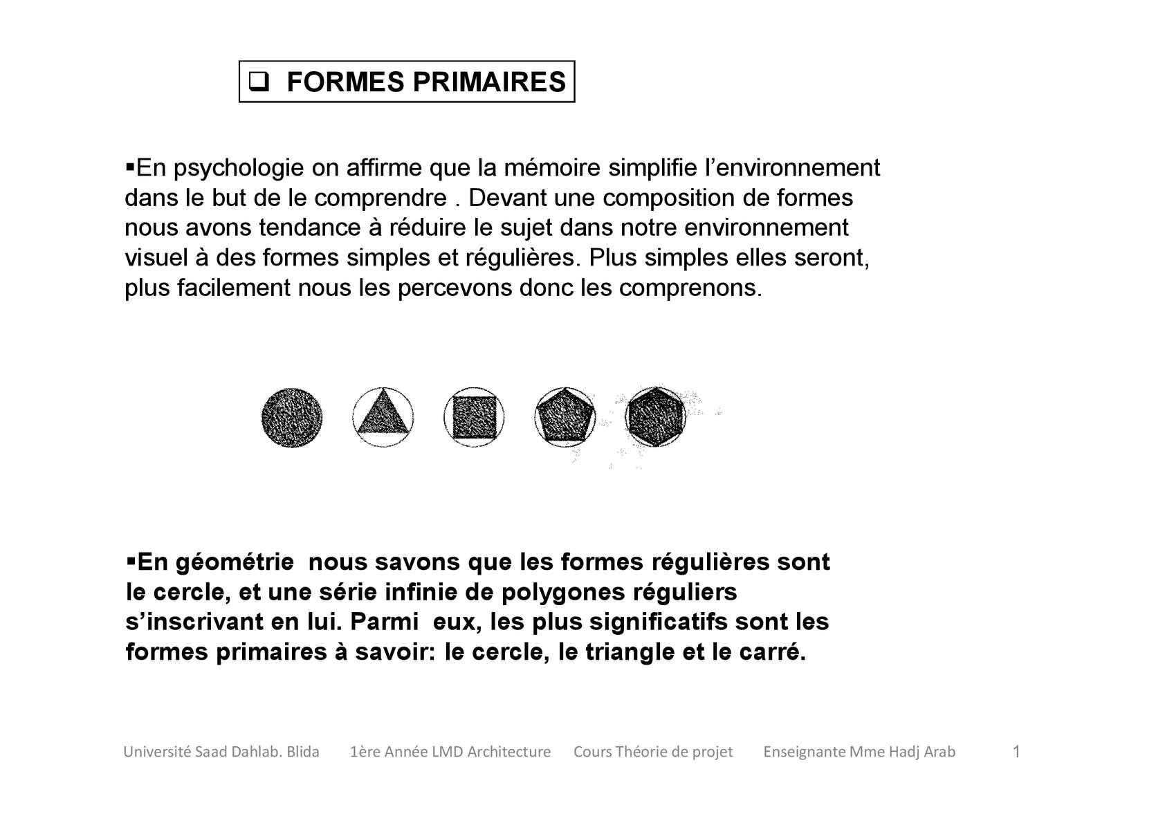 cours théorie du projet 1ére année ''formes et solides primaires''
