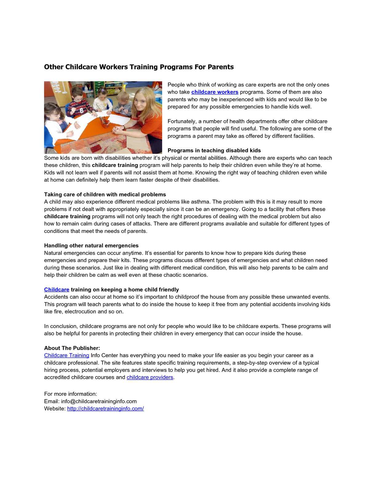 Calamo Other Childcare Workers Training Programs For Parents
