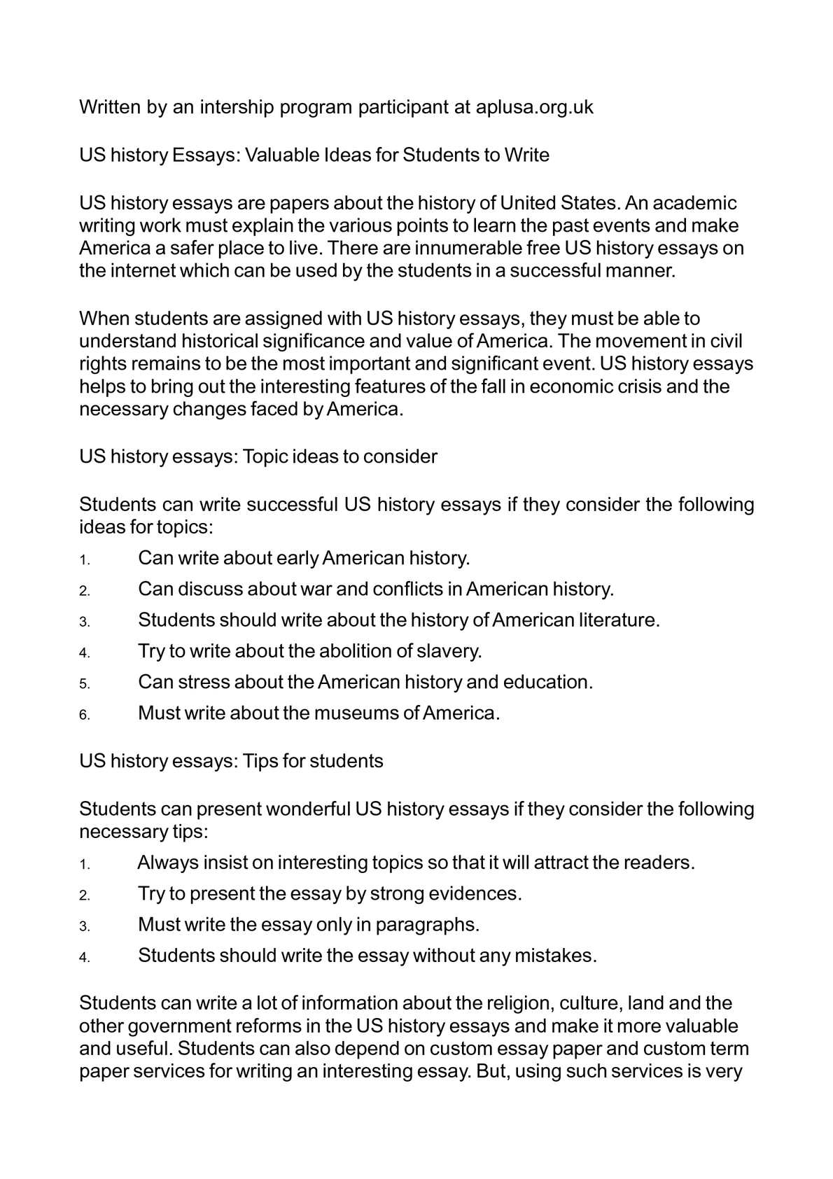 Best Essays In English  Causes Of The English Civil War Essay also Examples Of High School Essays Calamo  Us History Essays Valuable Ideas For Students To Write Thesis Statement For An Argumentative Essay