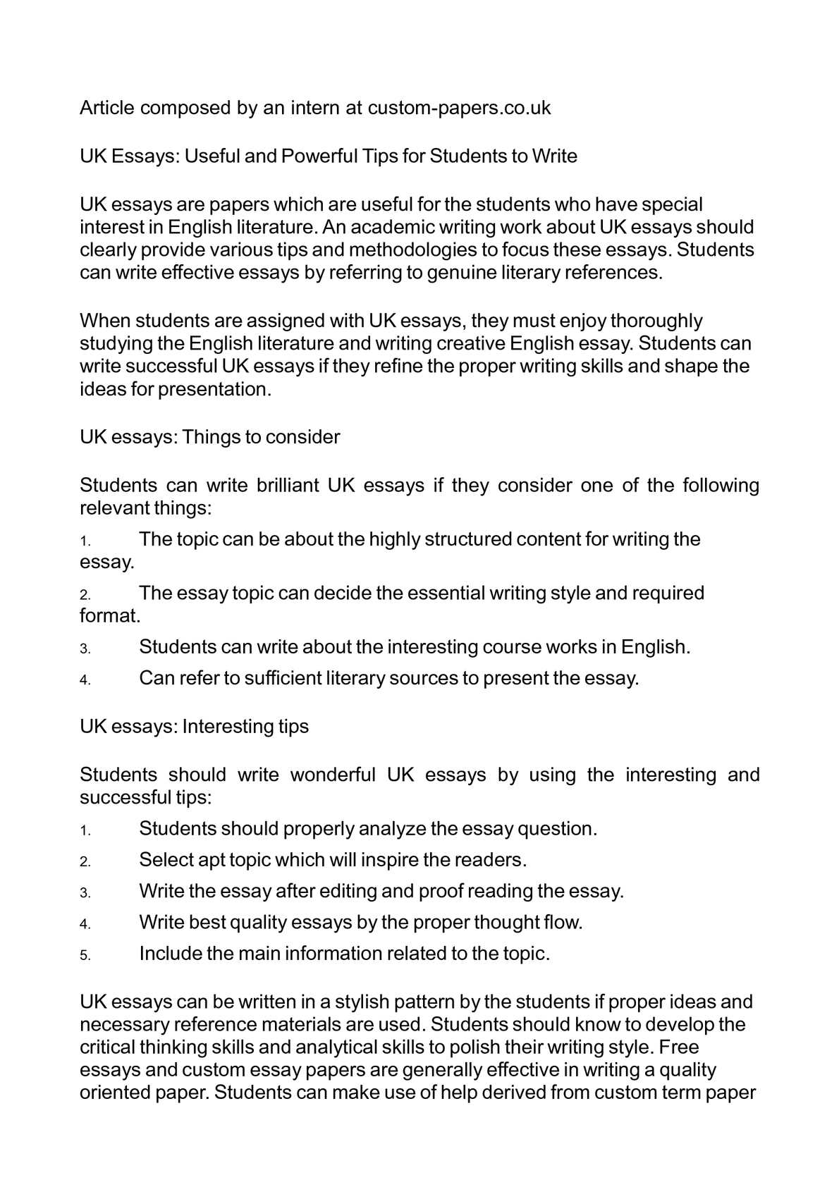 Calamo  Uk Essays Useful And Powerful Tips For Students To Write