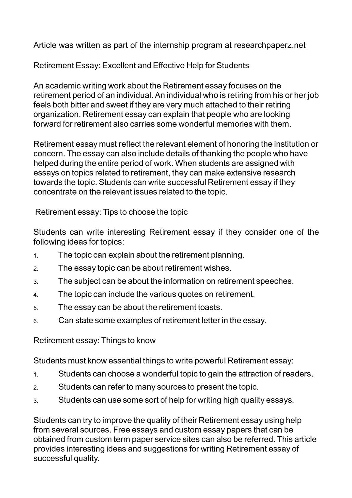 calamo retirement essay excellent and effective help for students