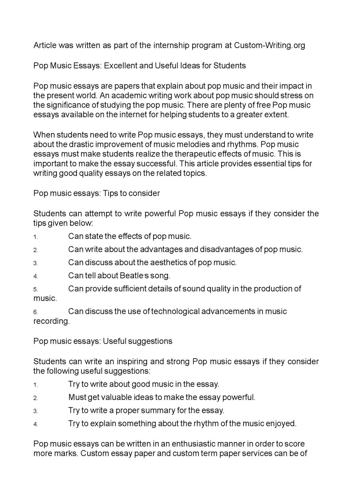 Calamo  Pop Music Essays Excellent And Useful Ideas For Students  Proposal Essay Topic Ideas also Scotiabank Scotia Plan Writer For Business  English Short Essays