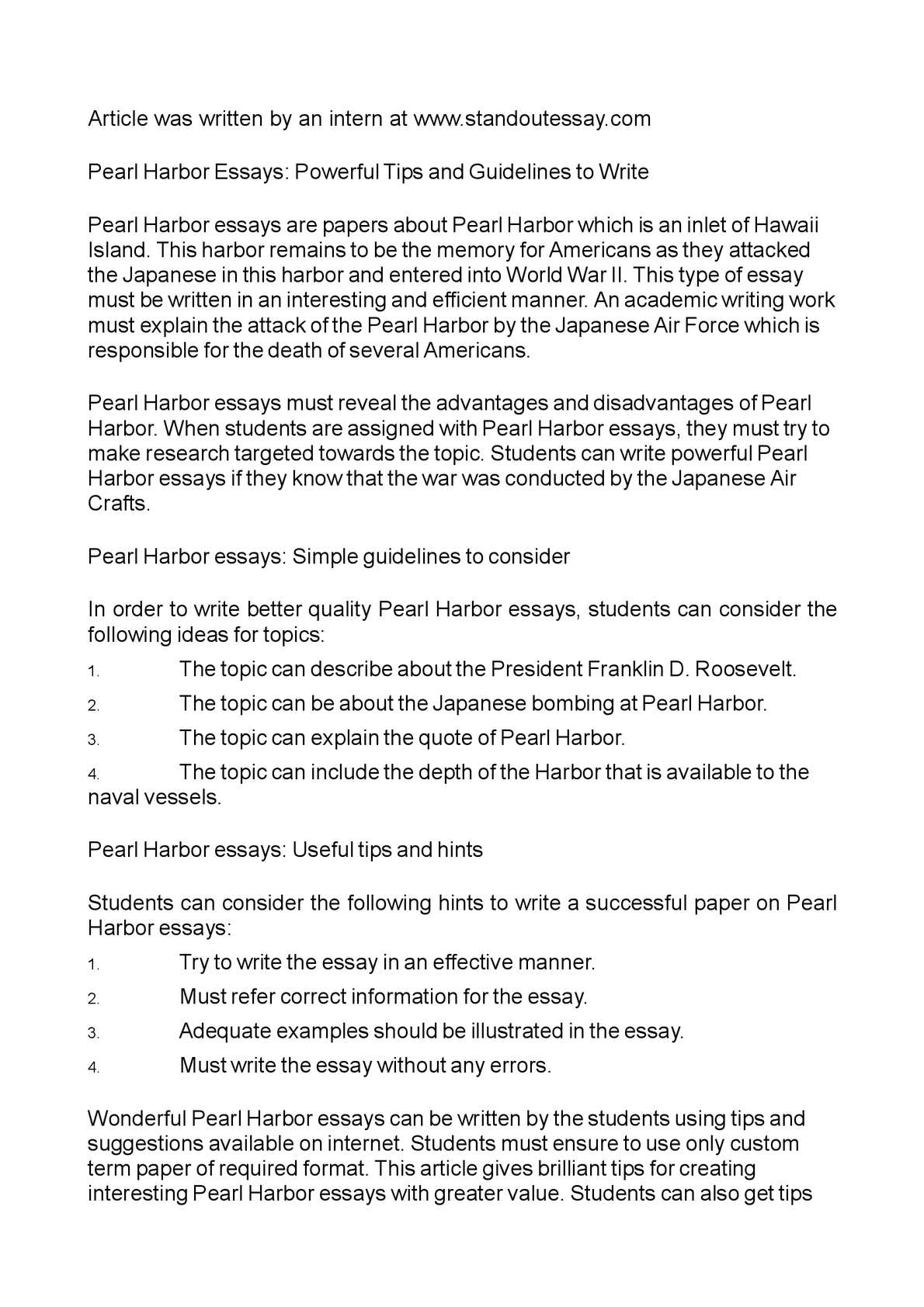 Calam o pearl harbor essays powerful tips and guidelines to write
