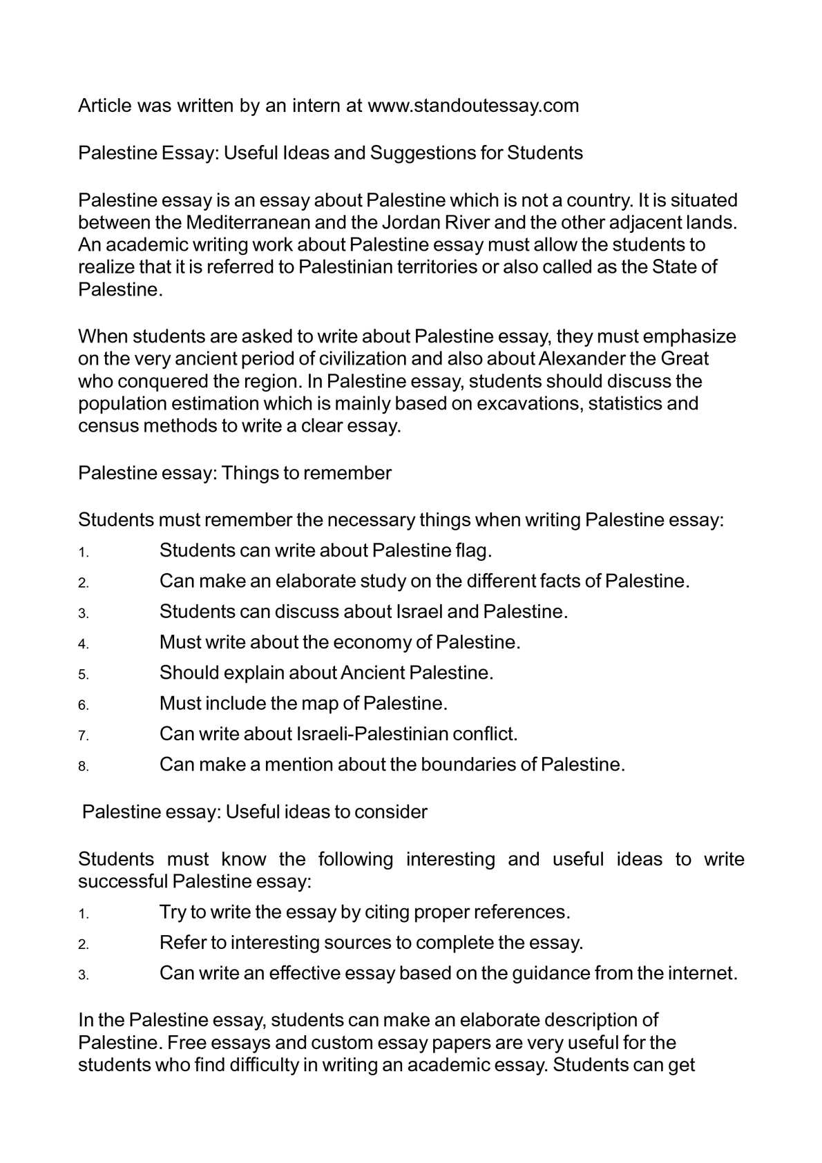 Calamo  Palestine Essay Useful Ideas And Suggestions For Students
