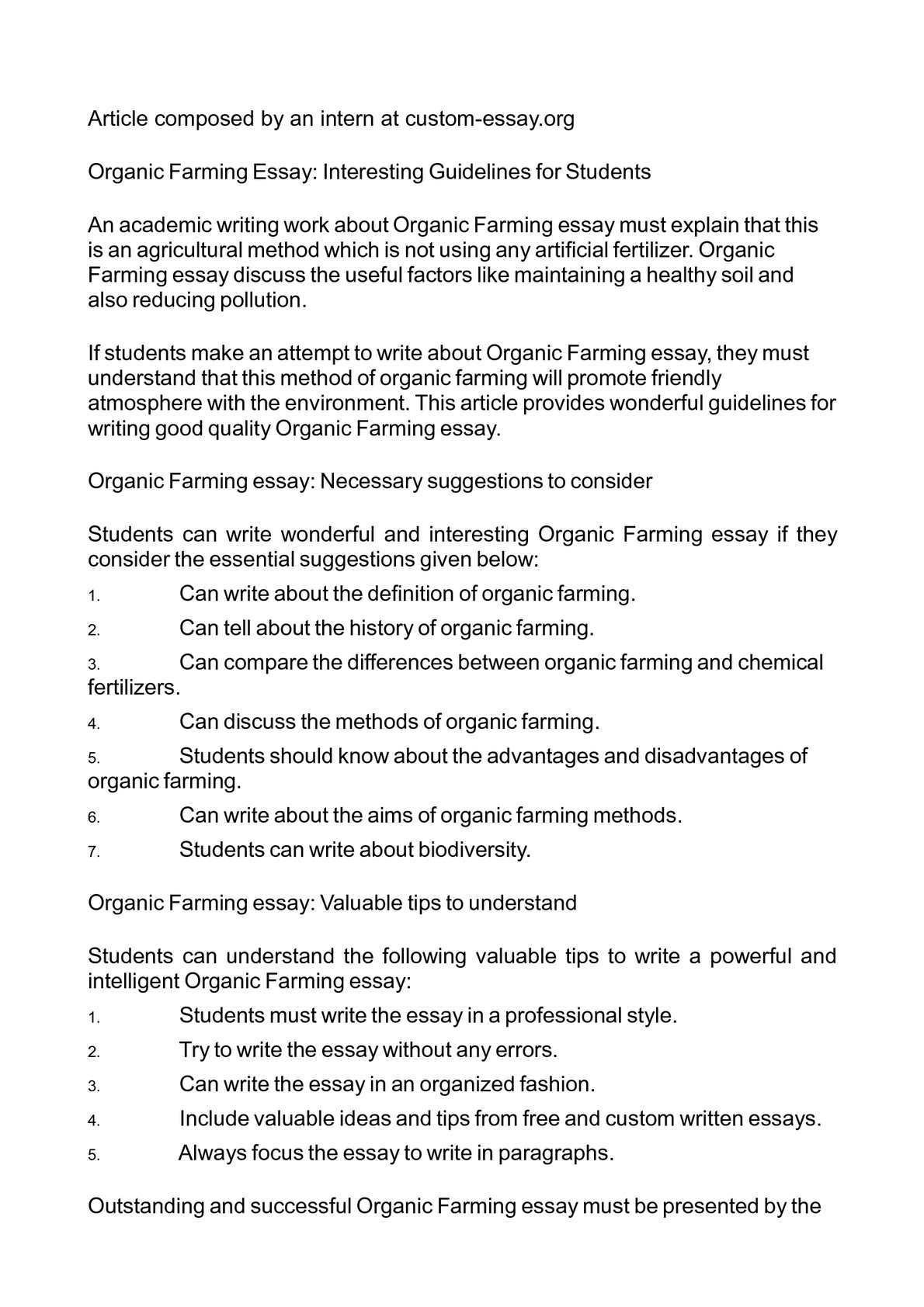 calam eacute o organic farming essay interesting guidelines for students