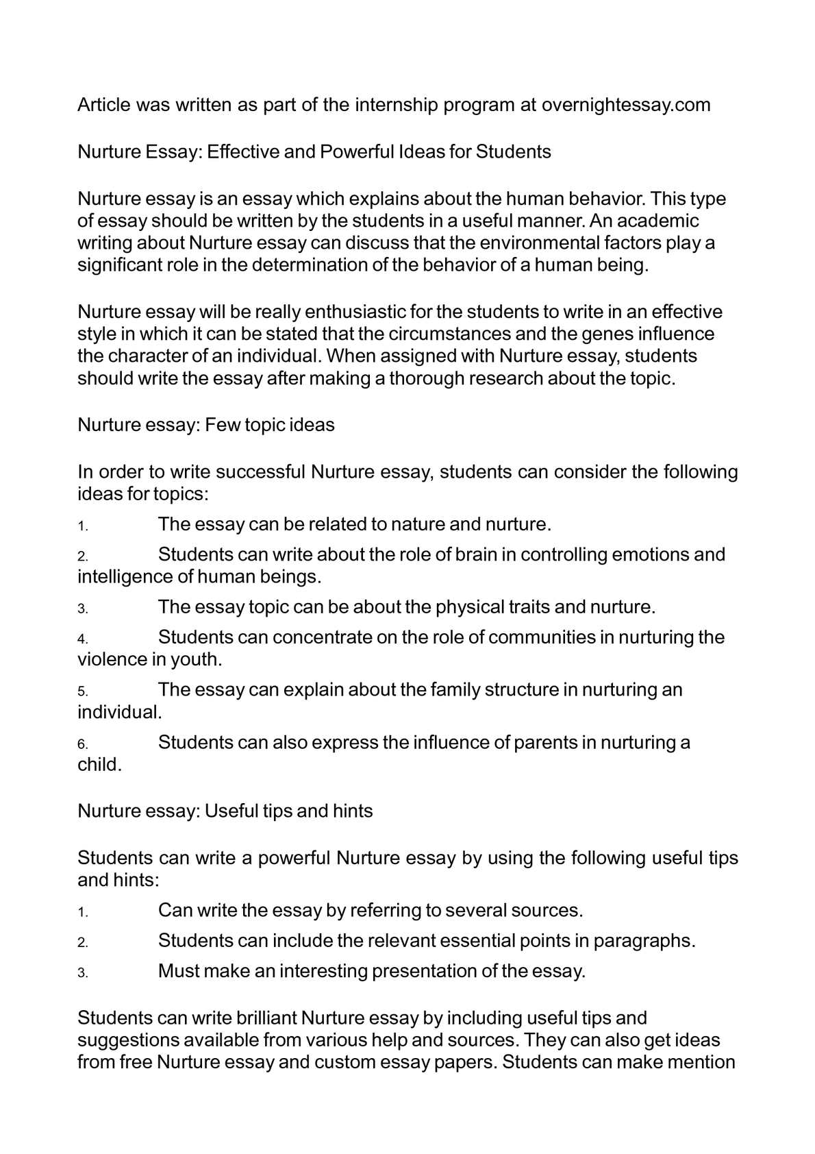 Apa Format For Essay Paper  Sample Of Research Essay Paper also Essay On Business Management Calamo  Nurture Essay Effective And Powerful Ideas For Students Business Plan Essay