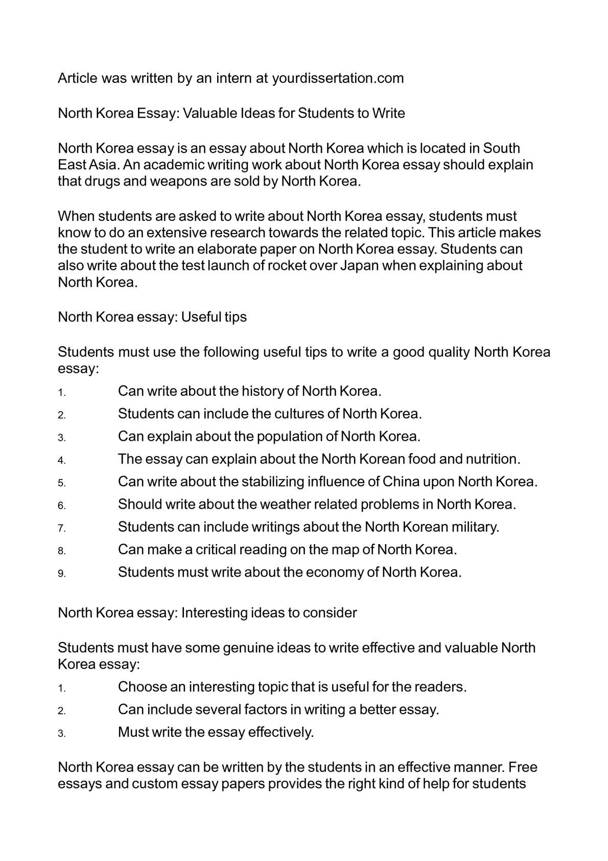 Calamo  North Korea Essay Valuable Ideas For Students To Write  Business Essay Example also Service Agreement  English Sample Essay