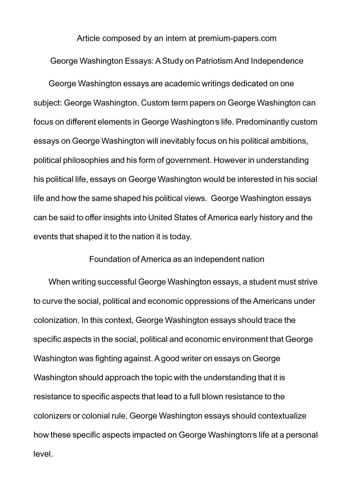 Calamo  George Washington Essays A Study On Patriotism And  Calamo  George Washington Essays A Study On Patriotism And Independence Best Paraphrasing Online also Writing Companies  5 Paragraph Essay Topics For High School