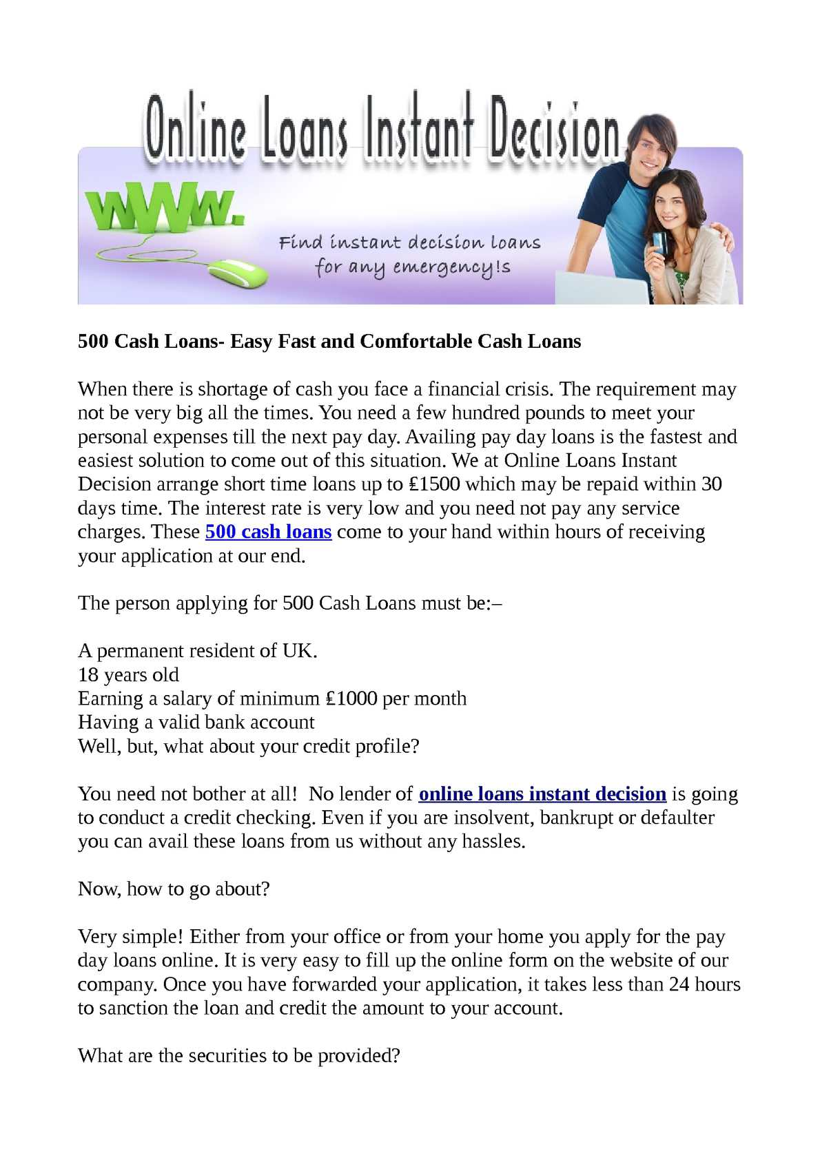 Calaméo - 500 Cash Loans- Easy Fast and Comfortable Cash Loans