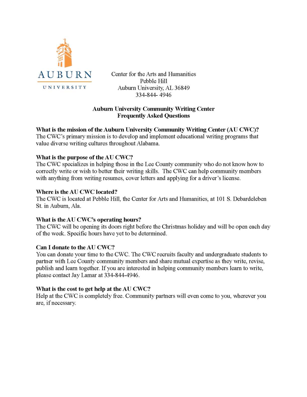 Calaméo - AU Community Writing Center FAQ