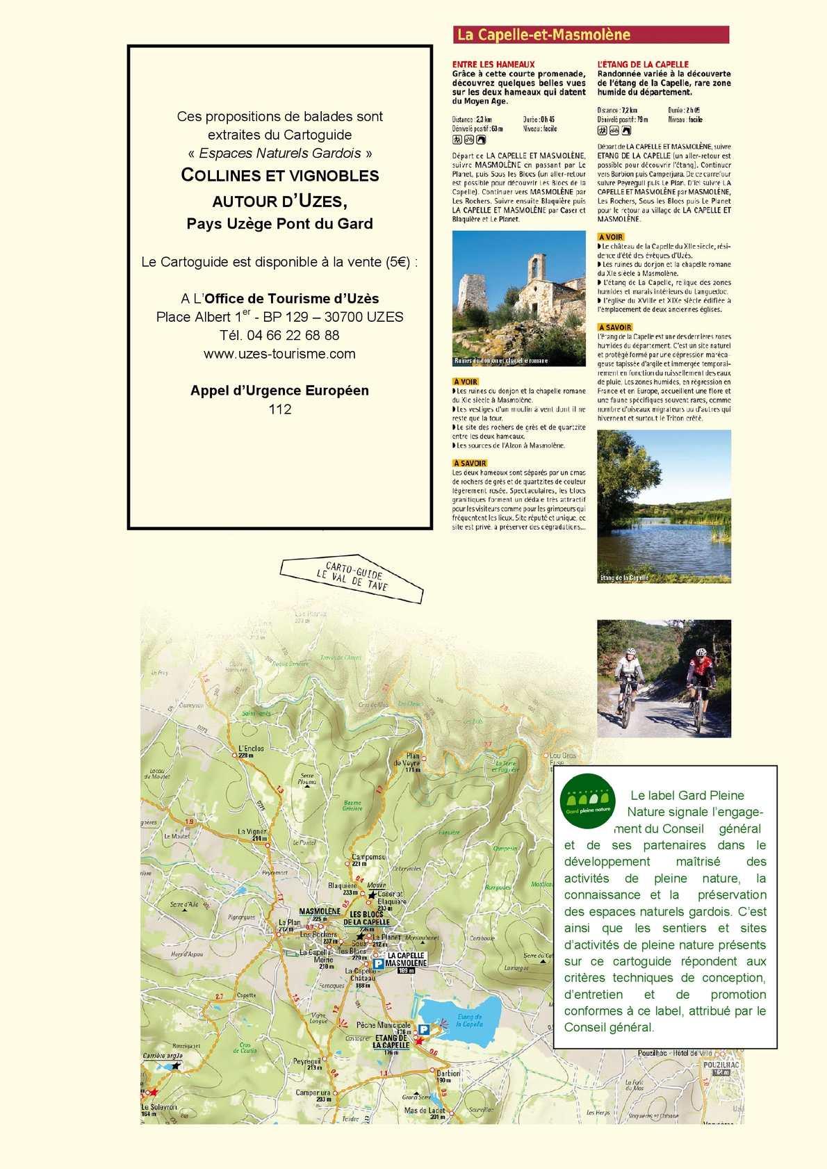 Calam o extrait du cartoguide collines et vignobles - Office de tourisme du pont du gard ...