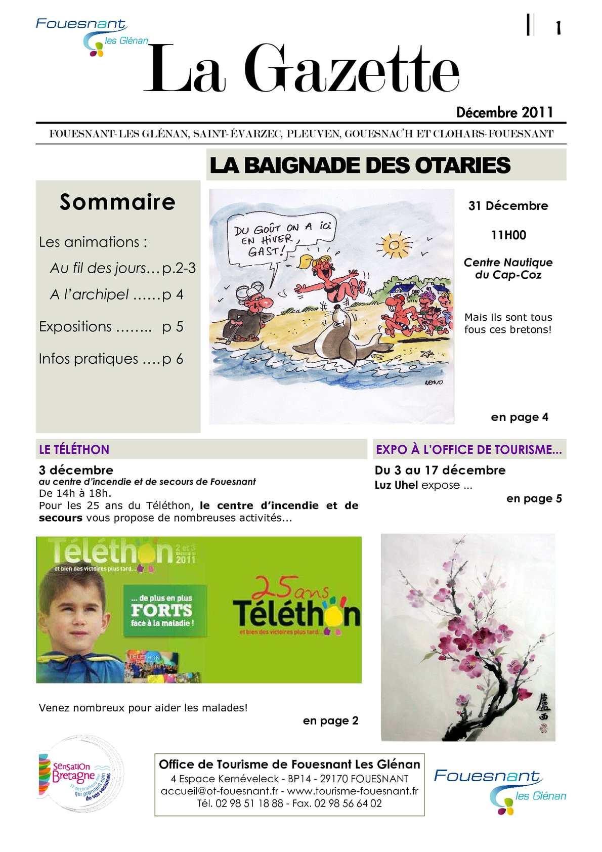 Calam o gazette du mois de d cembre 2011 - Office tourisme fouesnant ...