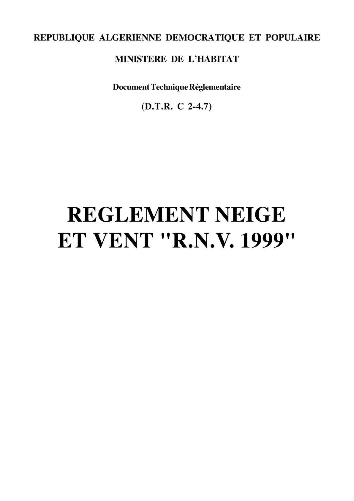 C 2-4.7 Règlement Neige et Vent Algerien R.N.V.A 1999