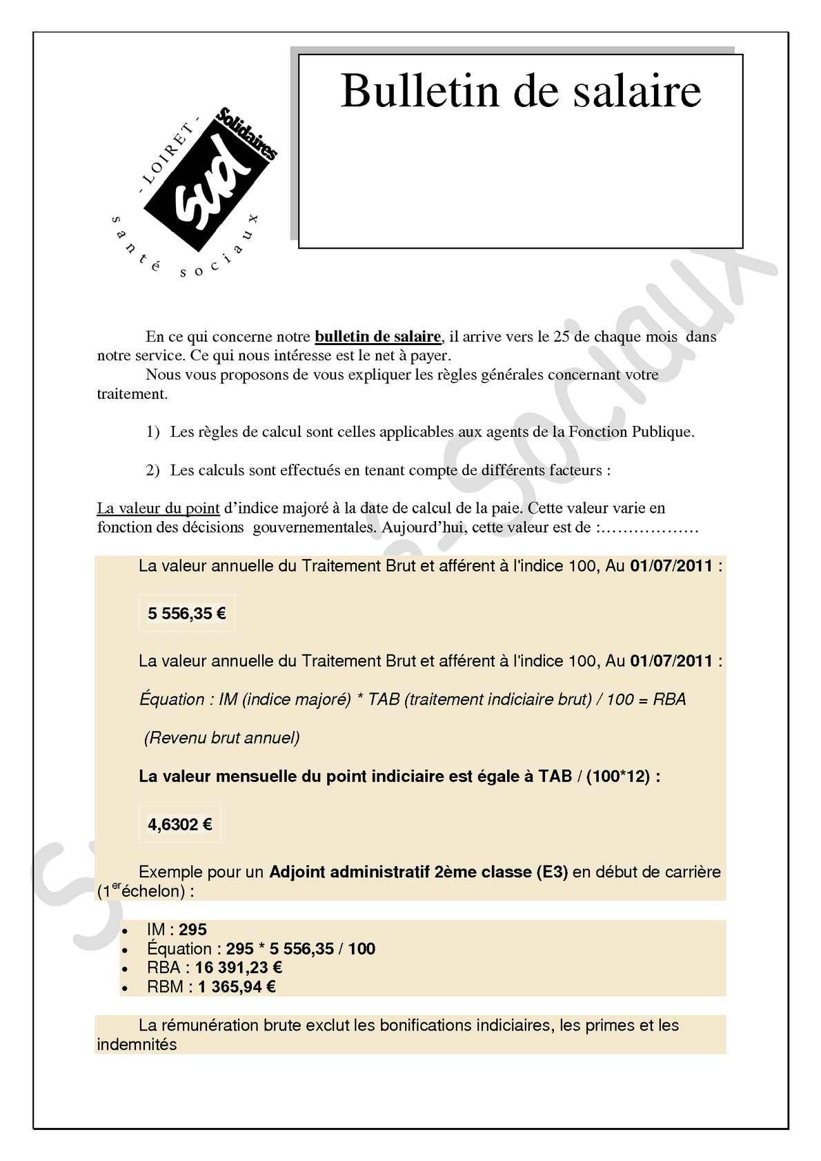 Traitement indiciaire brut fonction publique - Grille de remuneration fonction publique ...
