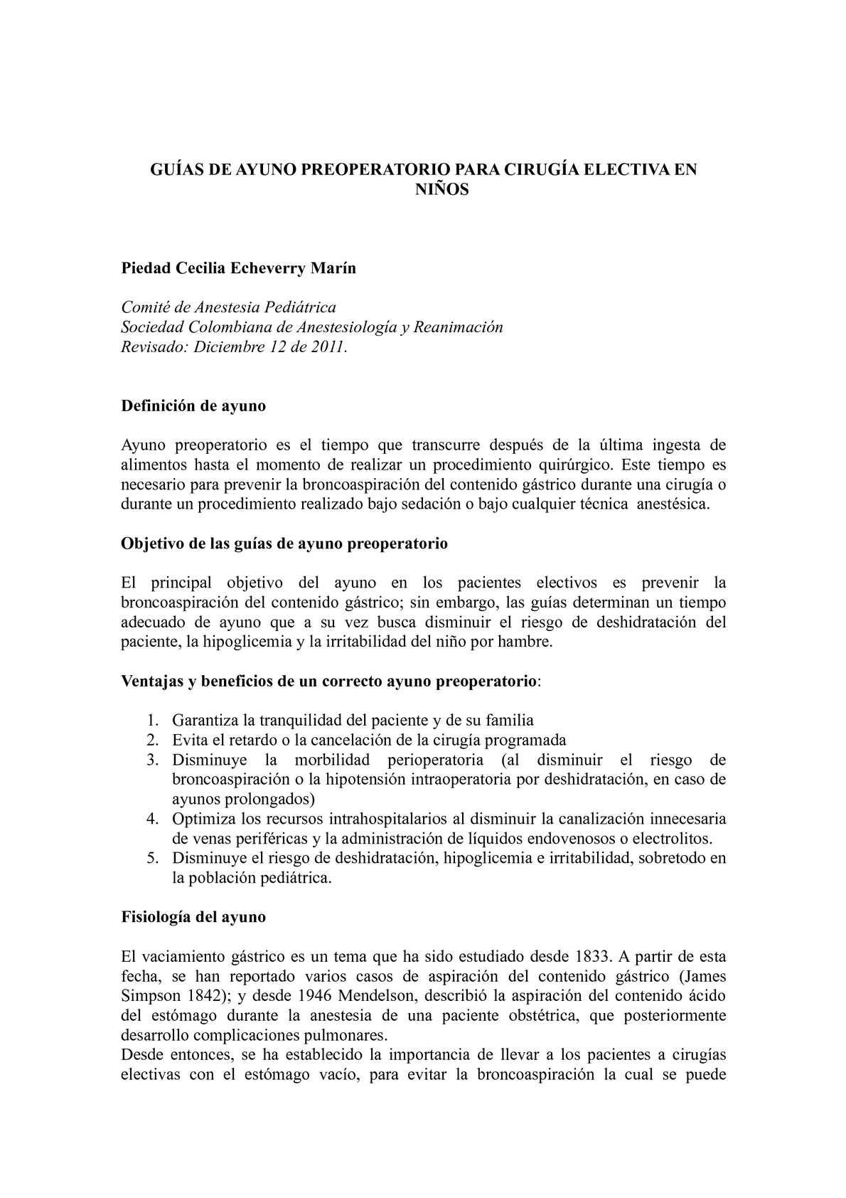 Calaméo - GUIAS DE AYUNO PREOPERATORIO PARA CIRUGÍA ELECTIVA