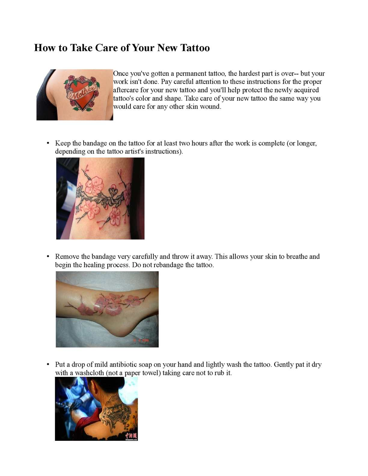 Calam o how to take care of your new tattoo tattoo for Tattoo bandage removal