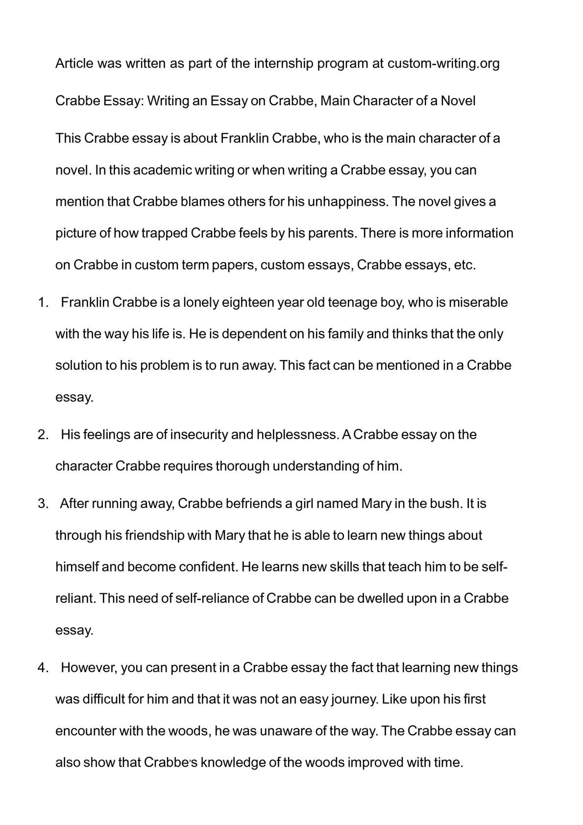calam eacute o crabbe essay writing an essay on crabbe main character calameacuteo crabbe essay writing an essay on crabbe main character of a novel