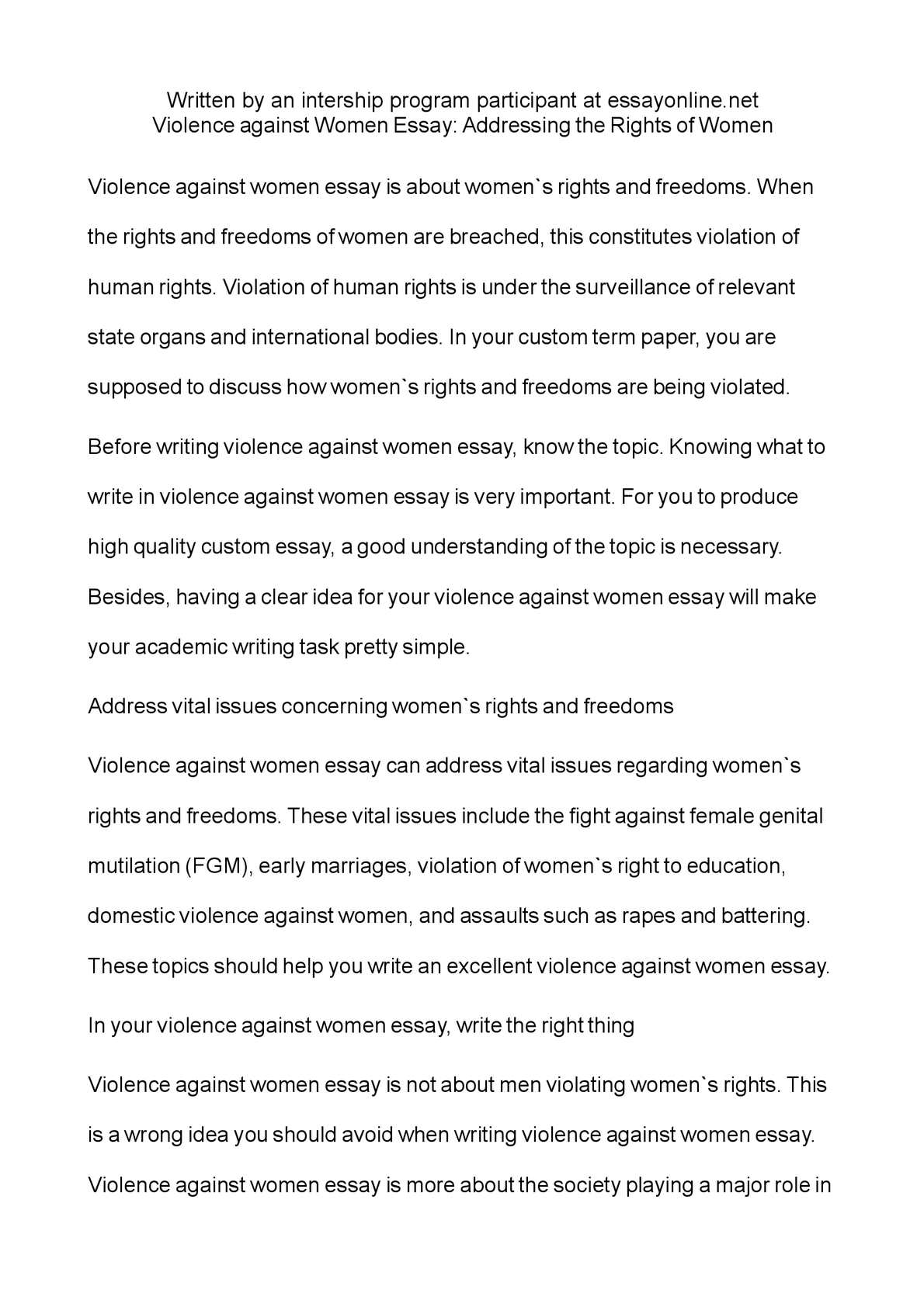 Calam o violence against women essay addressing the rights of women