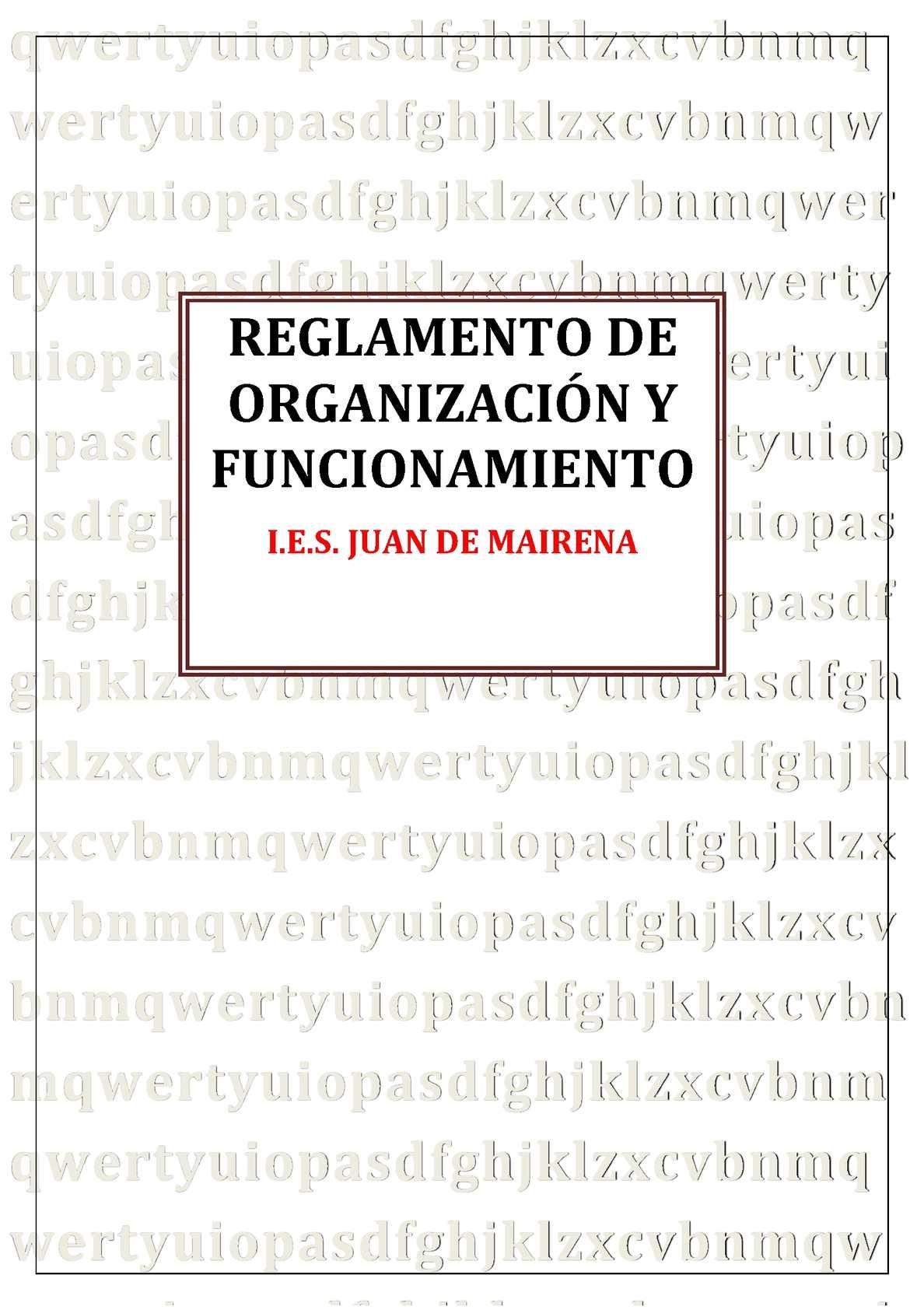 Reglamento de organización y funcionamiento