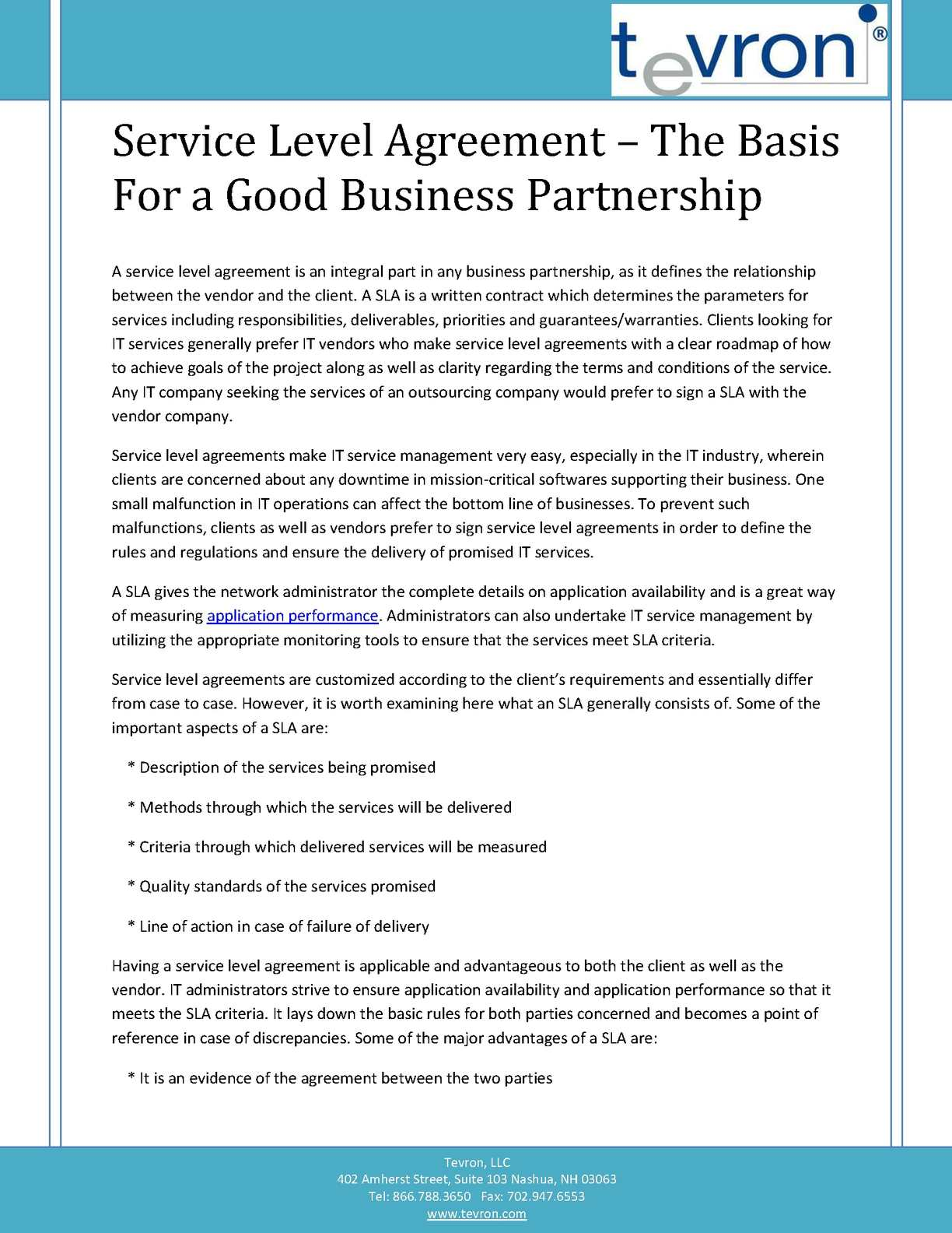 Calamo Service Level Agreement The Basis For A Good Business