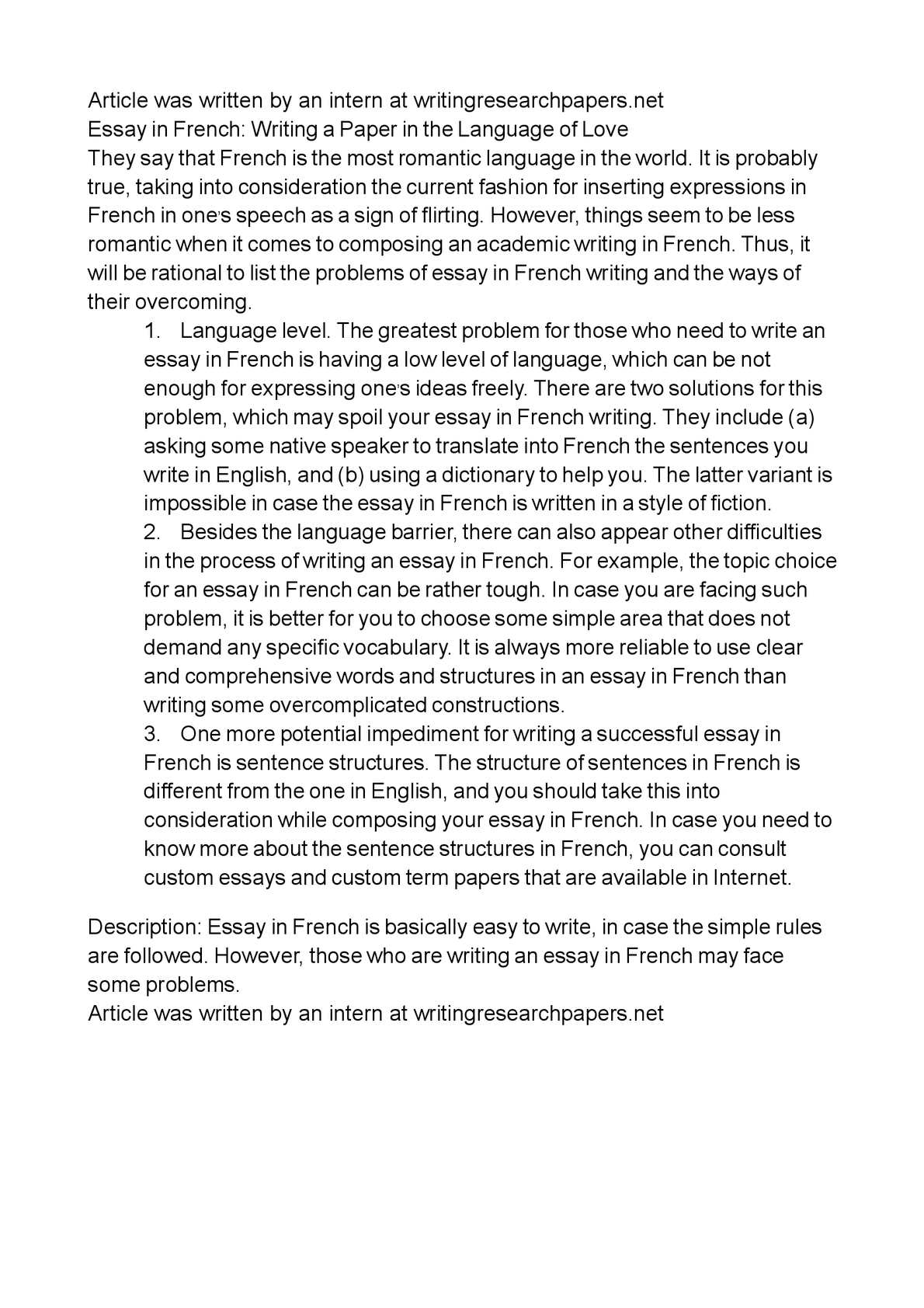 essay in french writing a paper in the language of love