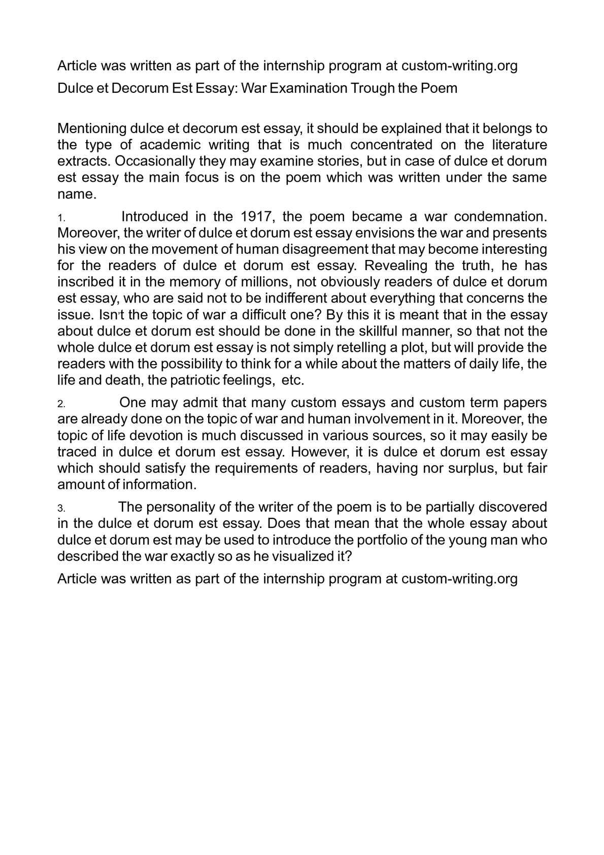 Thesis For A Narrative Essay  Essay For Students Of High School also Federalism Essay Paper Calamo  Dulce Et Decorum Est Essay War Examination Trough The Poem Compare And Contrast High School And College Essay