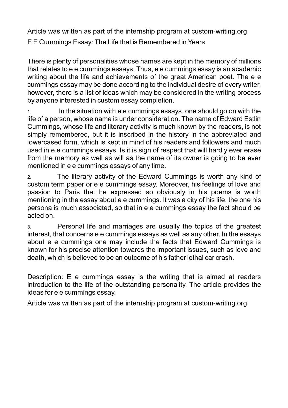 Essay Thesis Statement Examples  Essay Writing High School also Essay Papers Online Calamo  E E Cummings Essay The Life That Is Remembered In Years Essay About Learning English