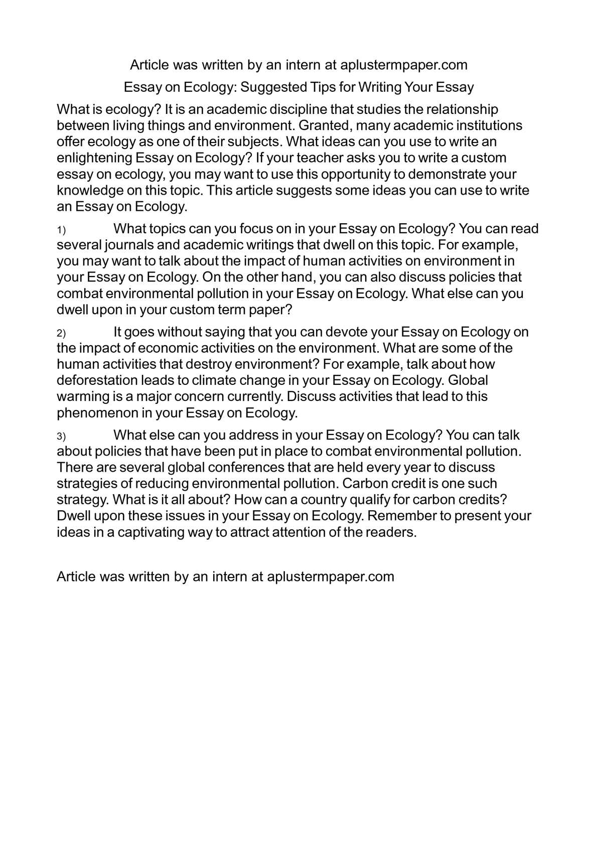 Calamo  Essay On Ecology Suggested Tips For Writing Your Essay