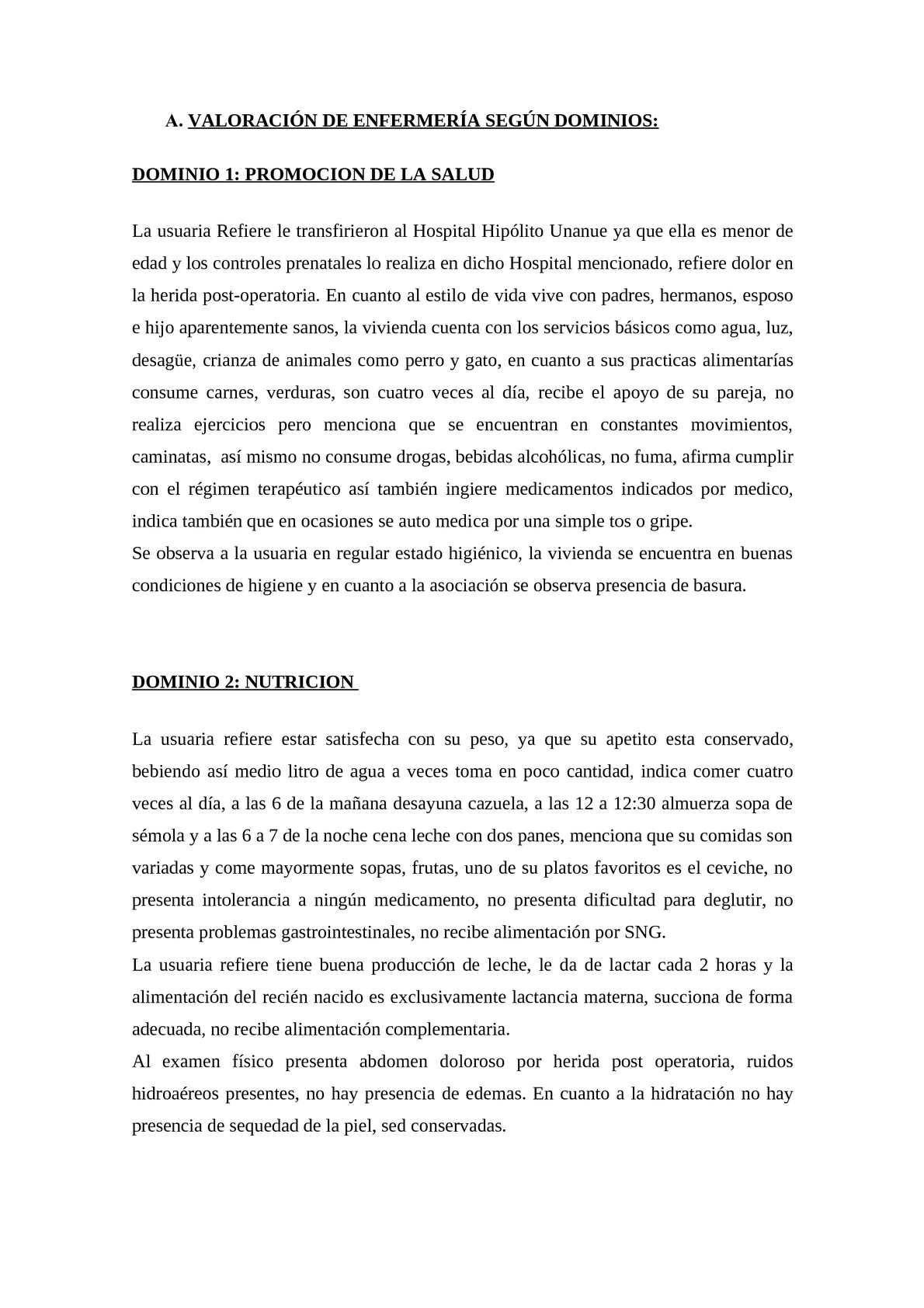 ejemplo de redacción de  DOMINIOS