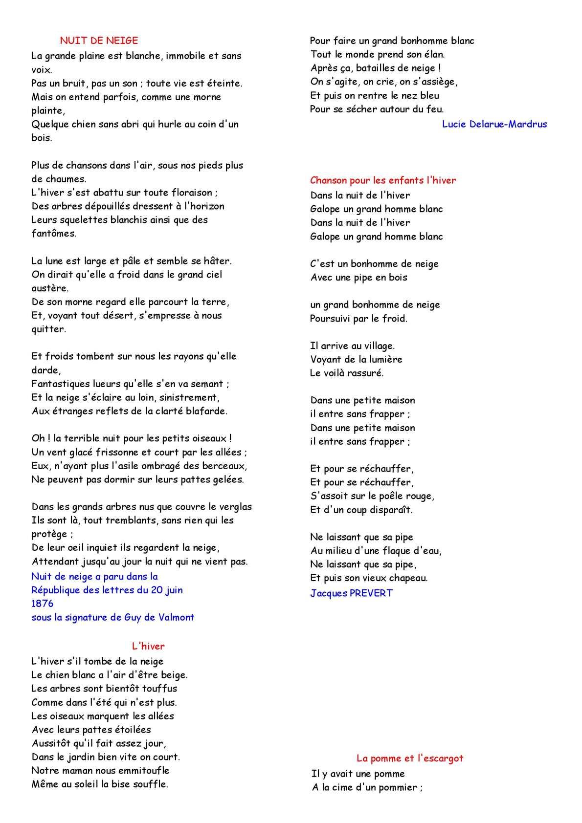 Calaméo poesie hiver
