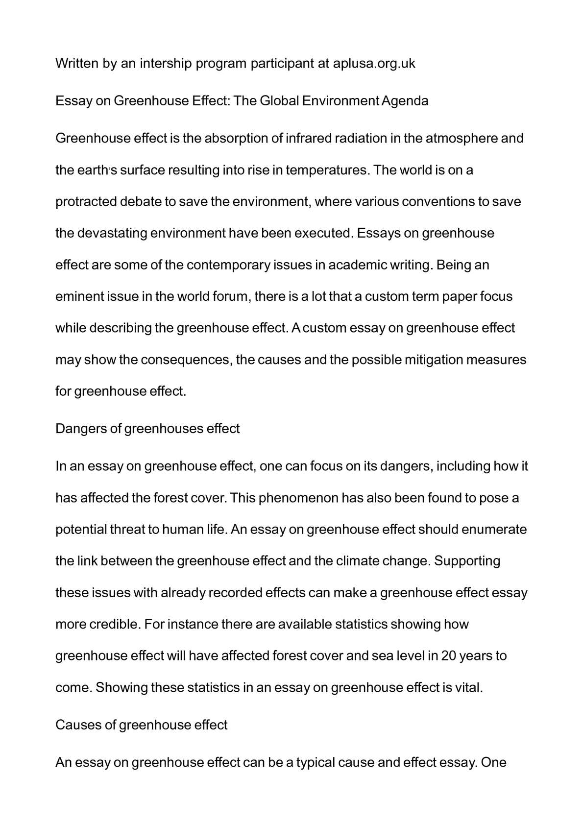 Photosynthesis Essay  High School Essays also Business Essay Format Calamo  Essay On Greenhouse Effect The Global Environment Agenda High School Essay