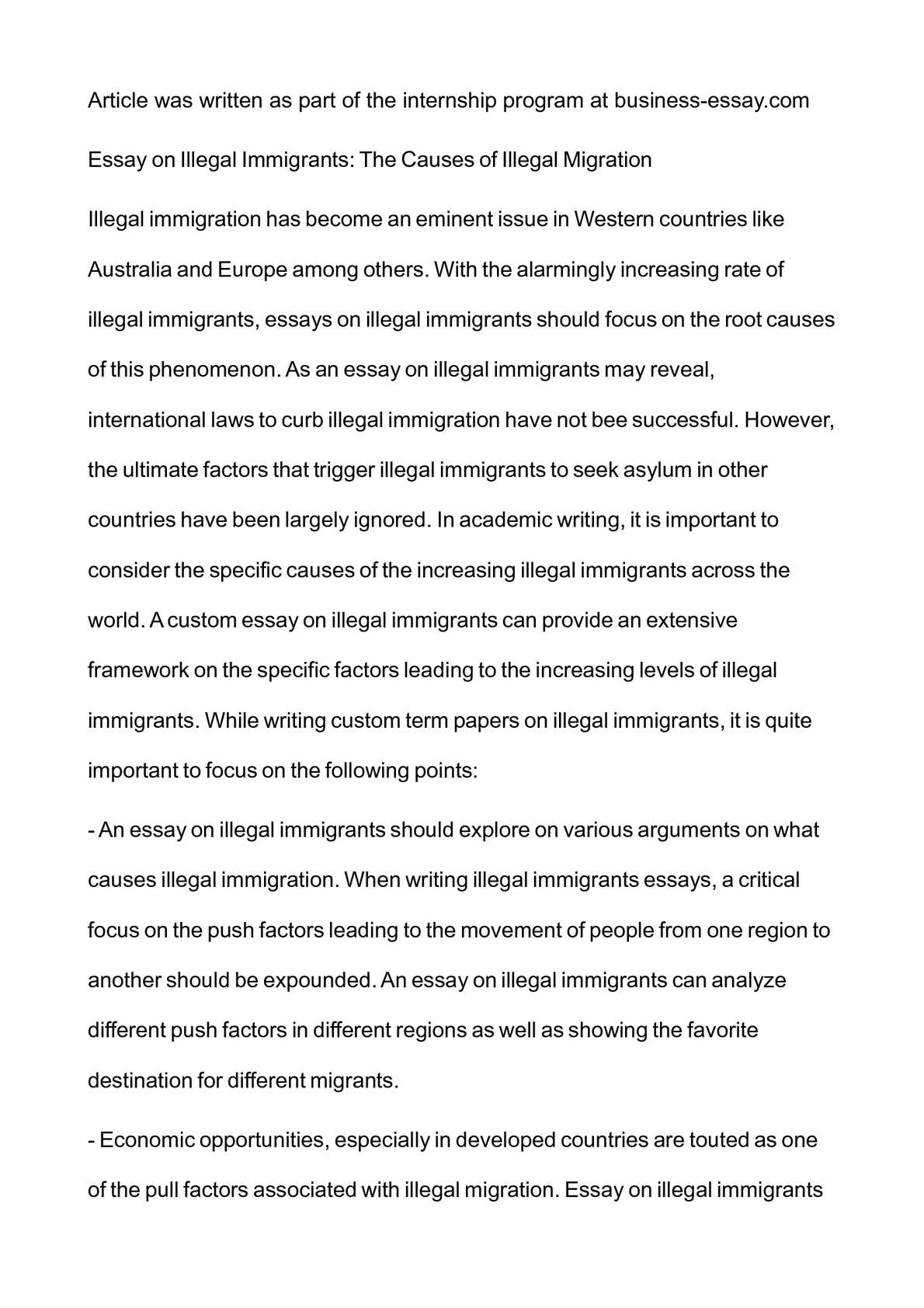 essay on illegal immigration calamatildecopyo essay on illegal immigrants the causes of illegal migration