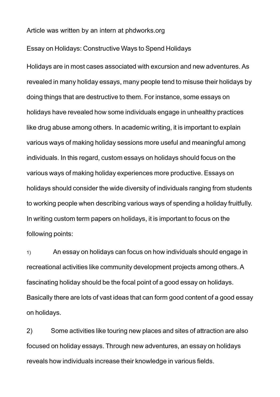 essay on holidays constructive ways to spend holidays
