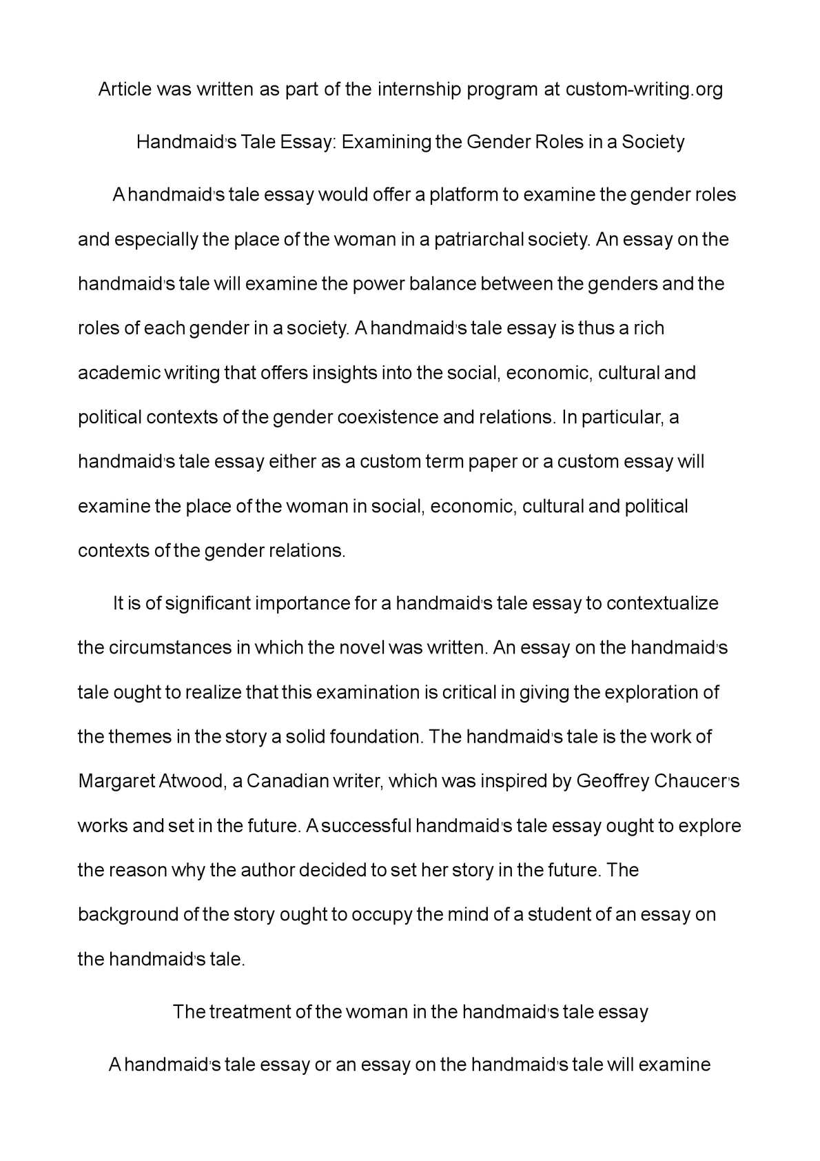 Search Essays In English Manipulation Of Power In The Handmaids Tale Political Science Essay also Modest Proposal Essay Examples The Handmaids Tale Thesis Statements And Important Quotes  Dfadukecom Science And Technology Essay