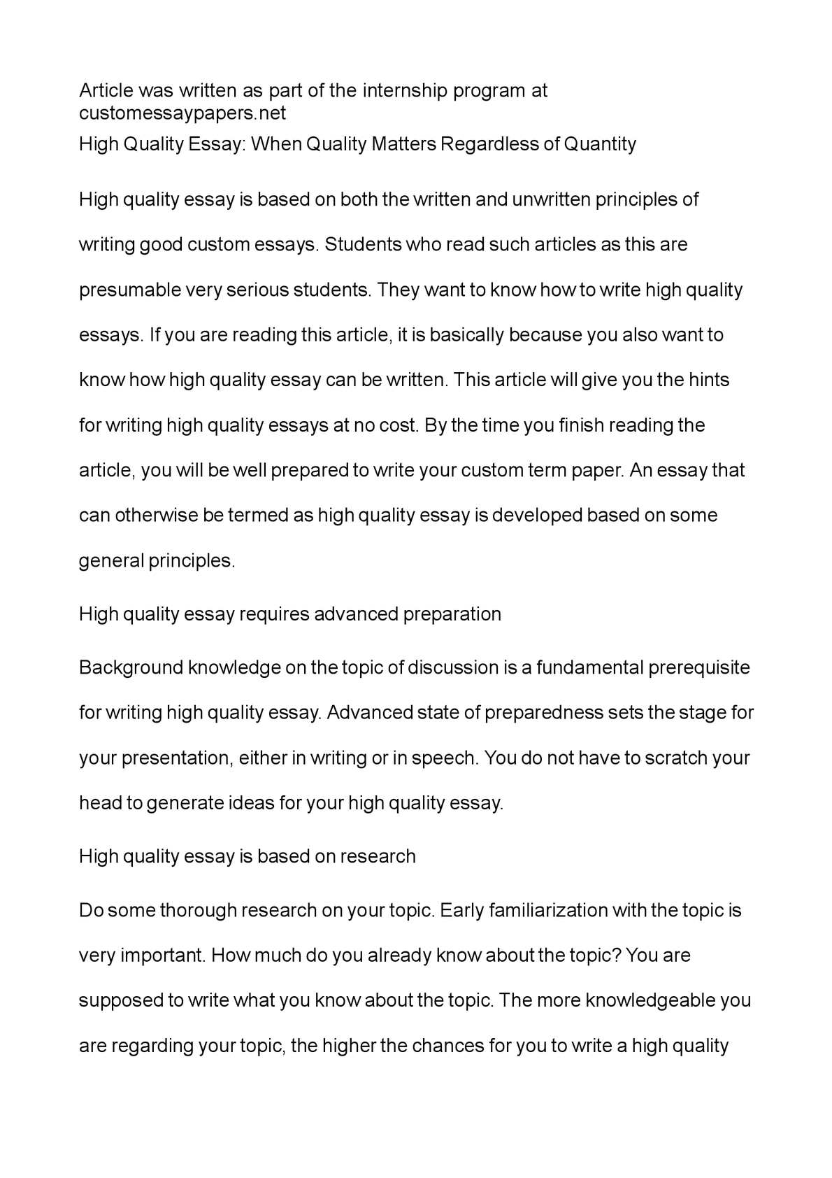 High School Persuasive Essay Examples Calamo  High Quality Essay When Quality Matters Regardless Of Quantity An Essay On Science also Essay Examples High School Calamo  High Quality Essay When Quality Matters Regardless Of  Compare And Contrast Essay Topics For High School