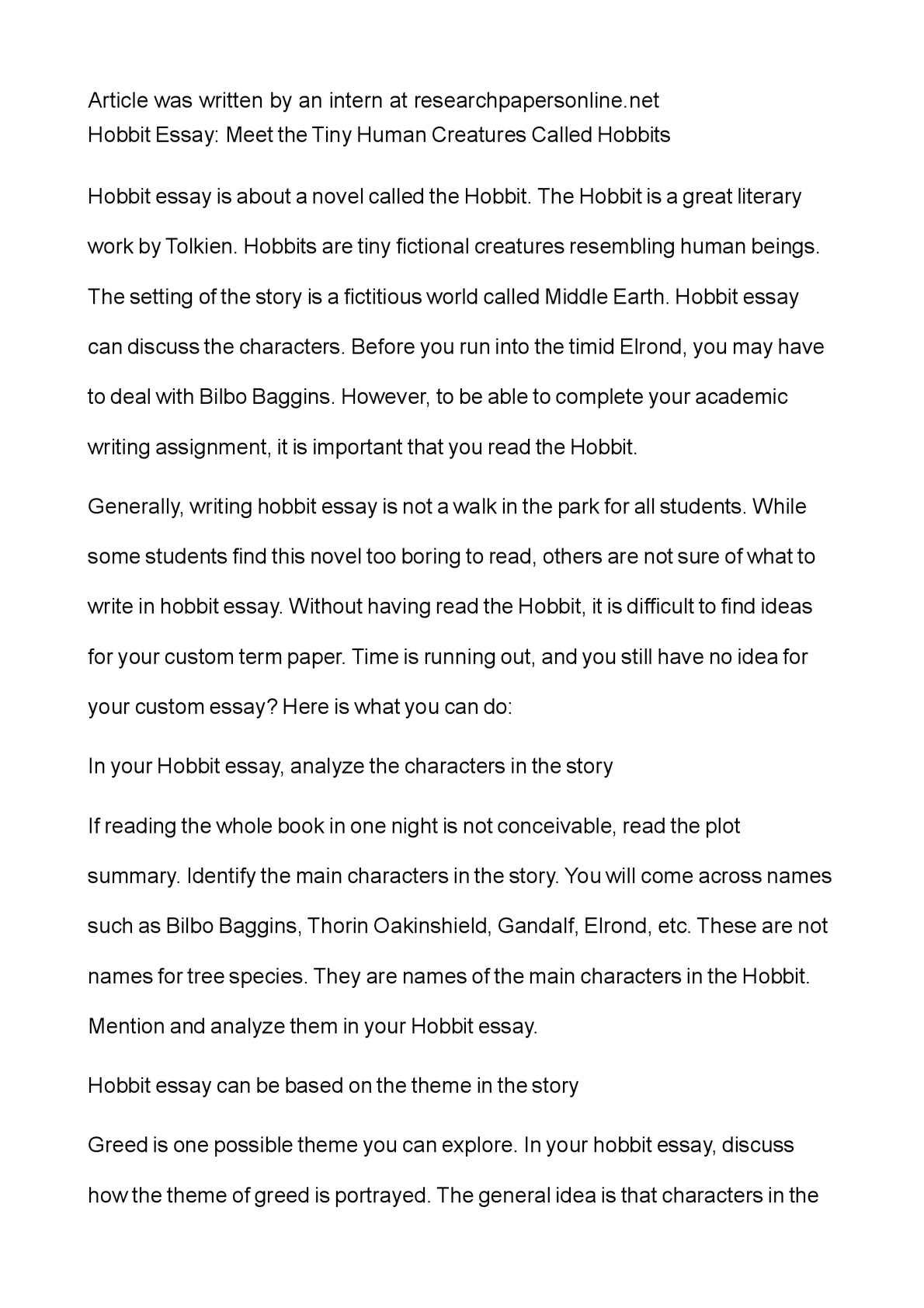 Calamo  Hobbit Essay Meet The Tiny Human Creatures Called Hobbits  Sample High School Essay also Graduating High School Essay  Analysis And Synthesis Essay