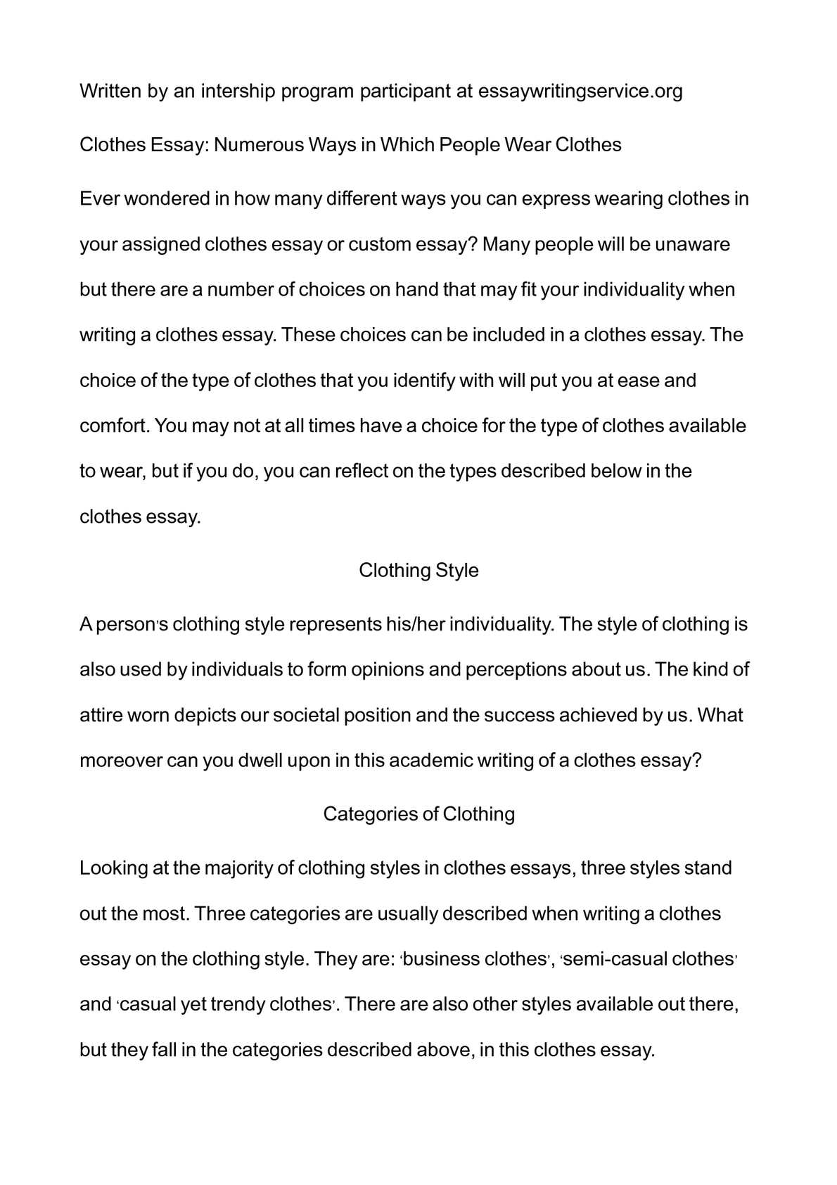 Calamo  Clothes Essay Numerous Ways In Which People Wear Clothes