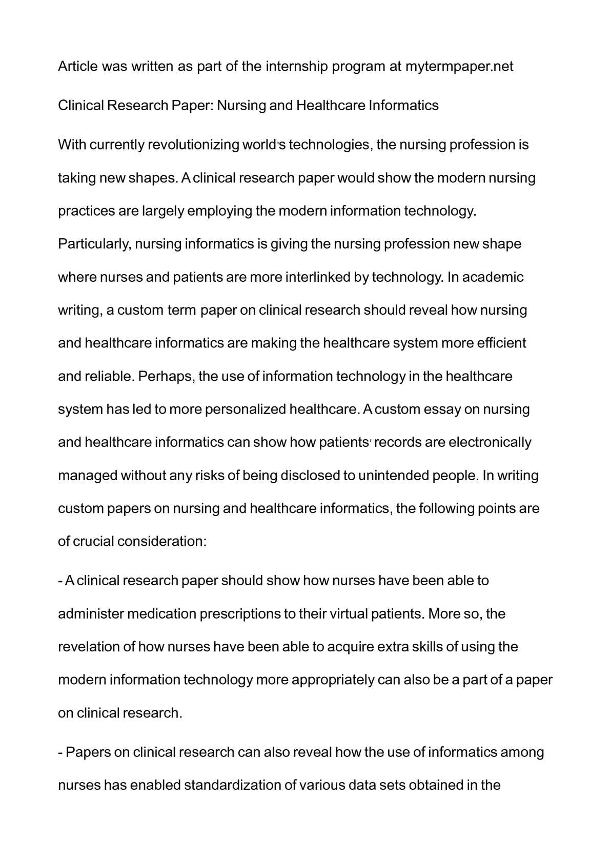 healthcare research paper