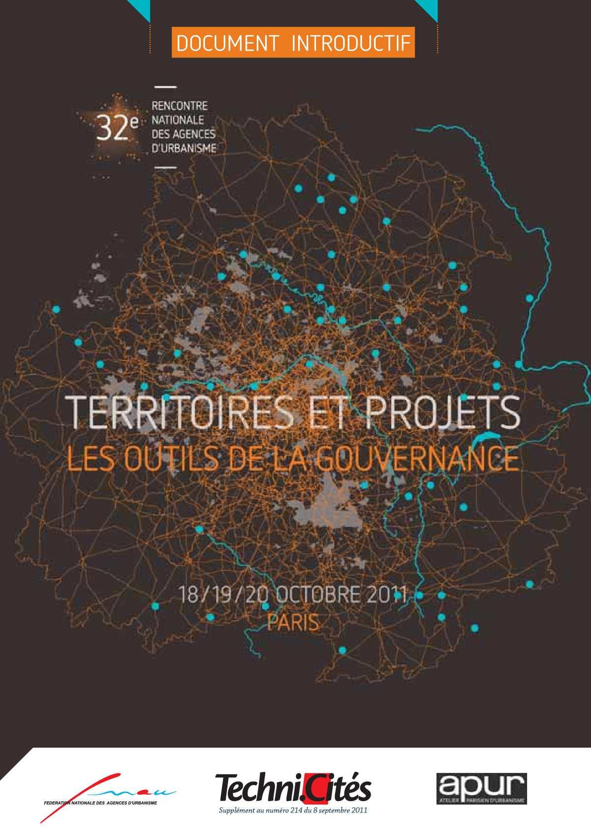 Territoires et projets : les outils de la gouvernance _ 32e rencontre nationale des agences d'urbanisme