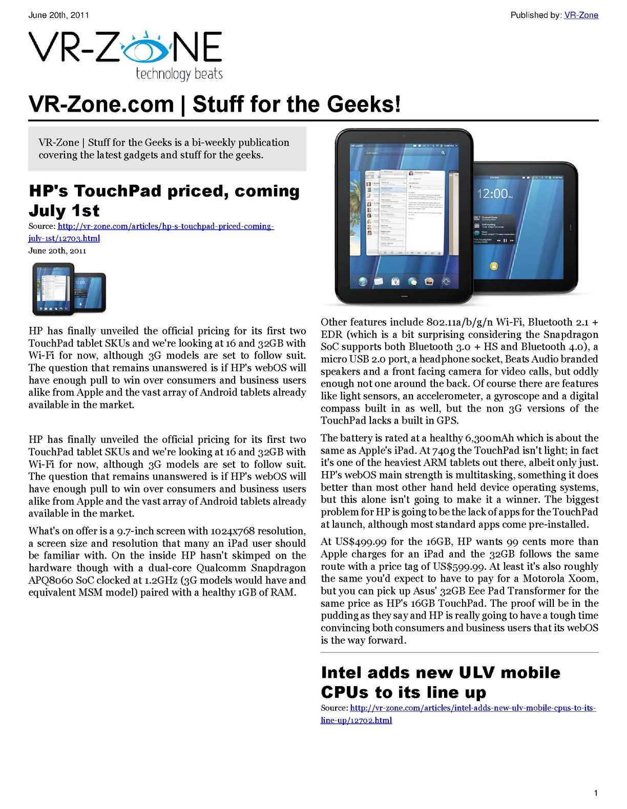 Calamo Vr Zone Tech News For The Geeks June 2011 Issue Snap Circuits Ac Battery Eliminator Neweggcom