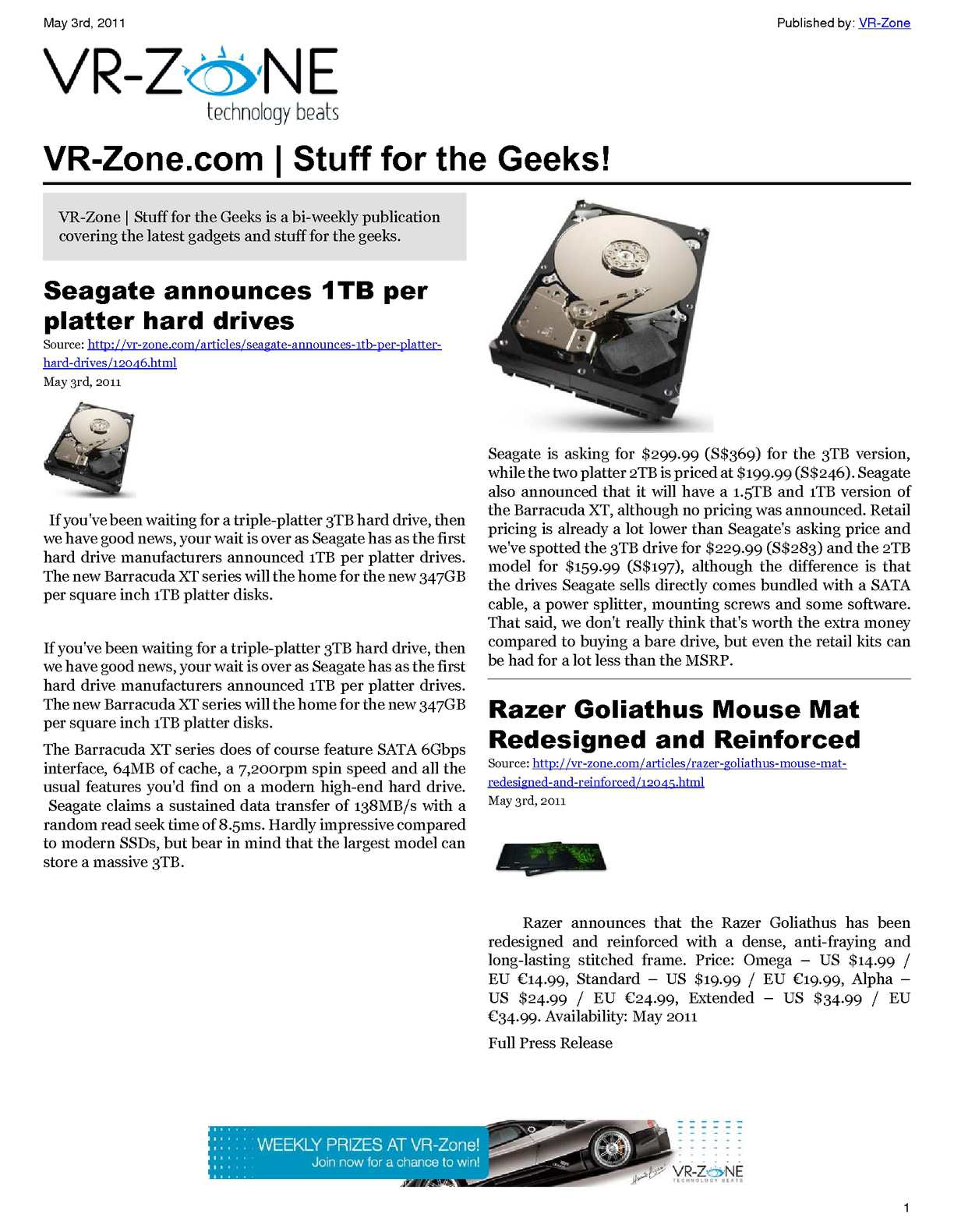 Calamo Vr Zone Tech News For The Geeks May 2011 Issue Breaker Load Http Www Shopping Com Square Enix D Co