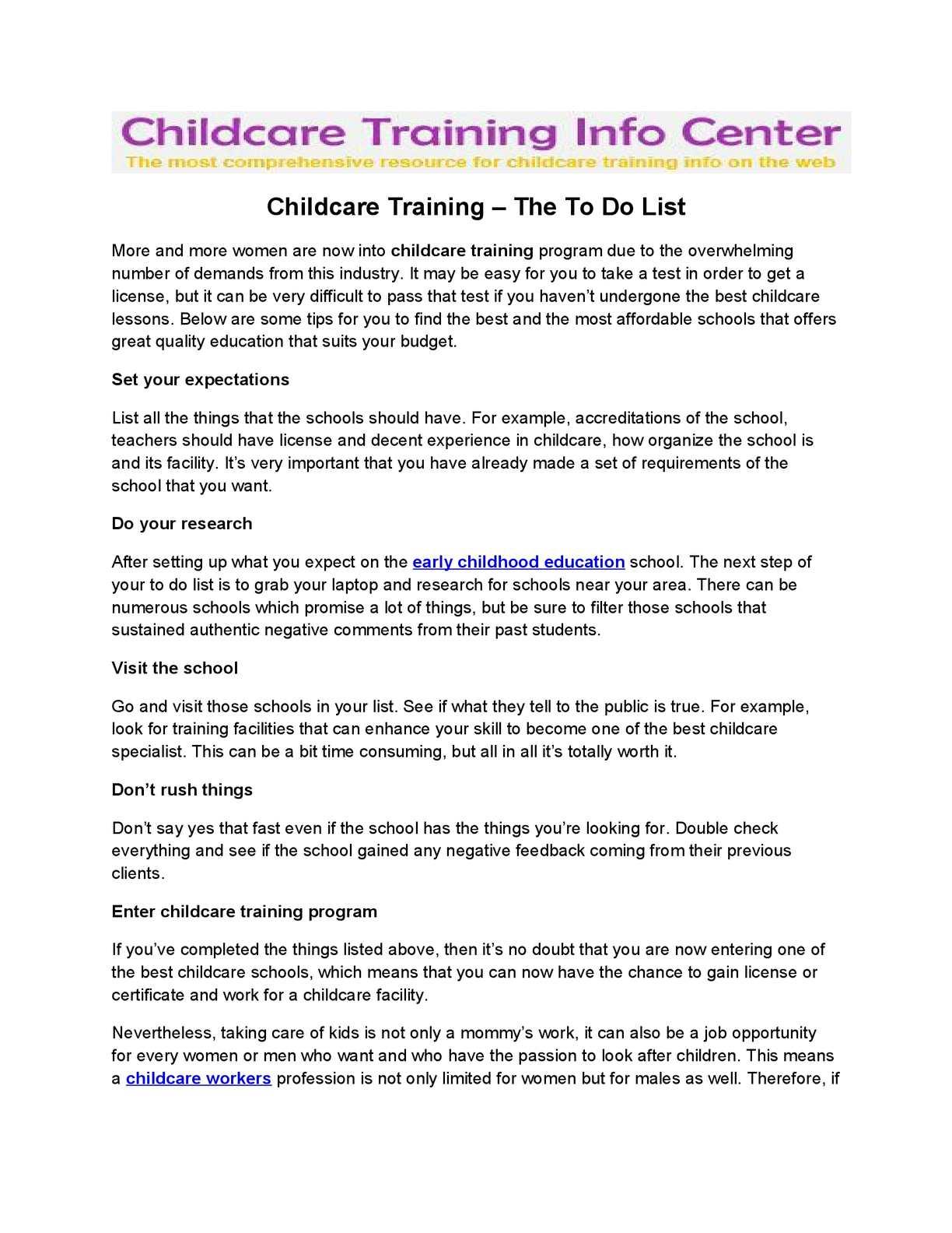 Calamo Childcare Training The To Do List